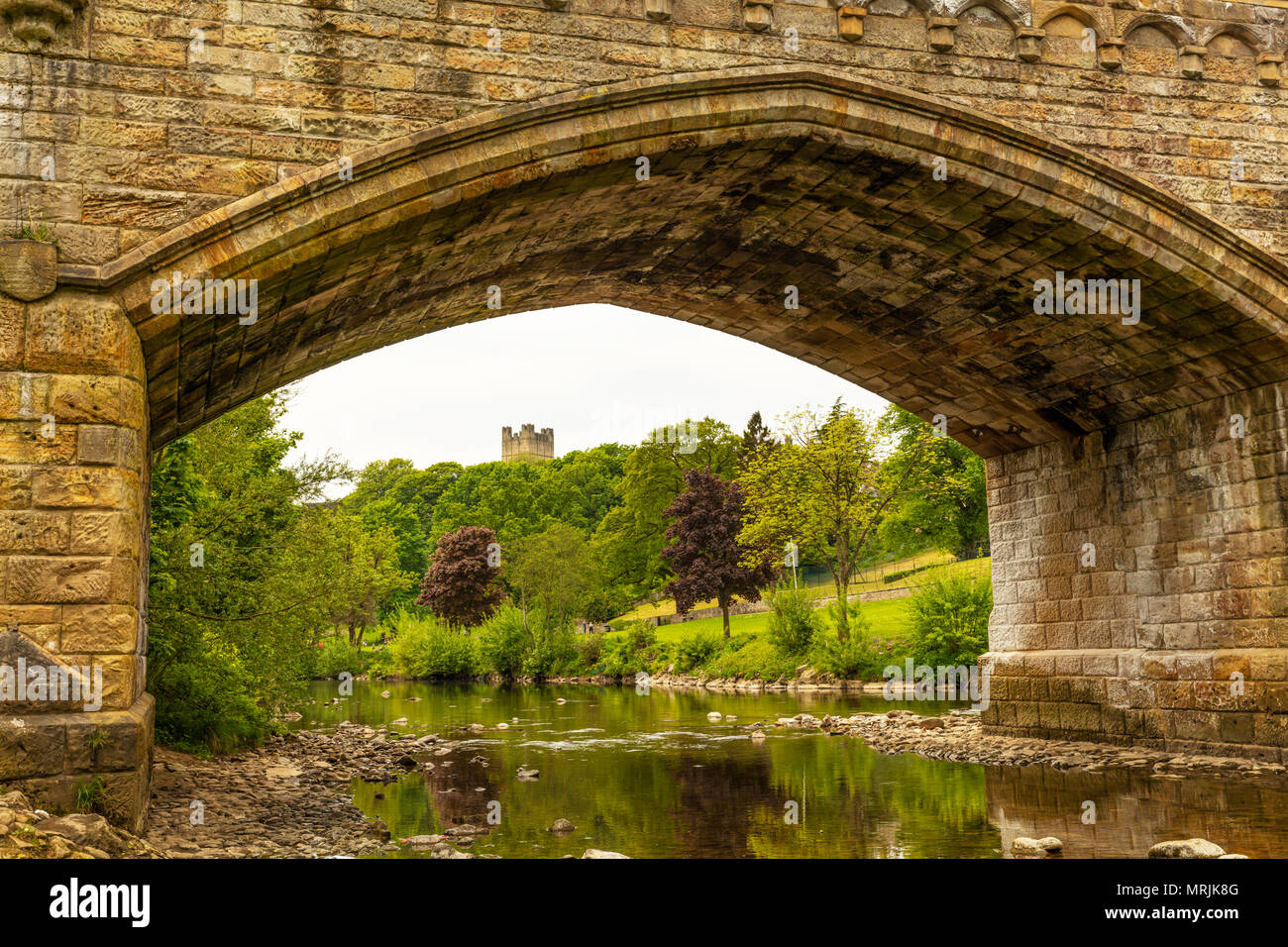 Richmond Castle Yorkshire, Richmond Castle in Richmond, North Yorkshire, Ancient, Arch, Architecture, British, River Swale, Yorkshire dales, Richmond Stock Photo