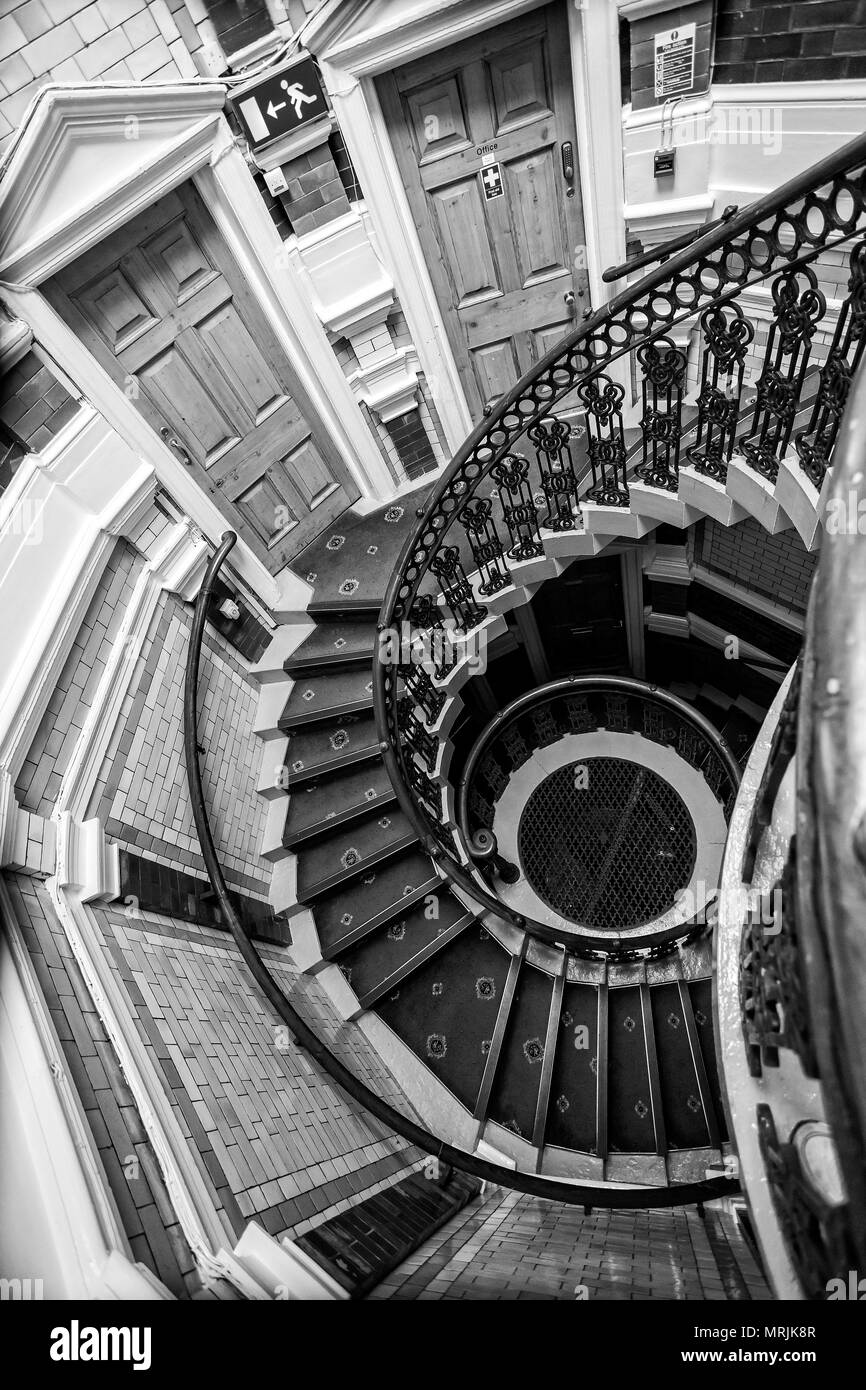 Black white aerial view of spiral staircase in channing hall surrey street sheffield yorkshire uk taken on 18 may 2018