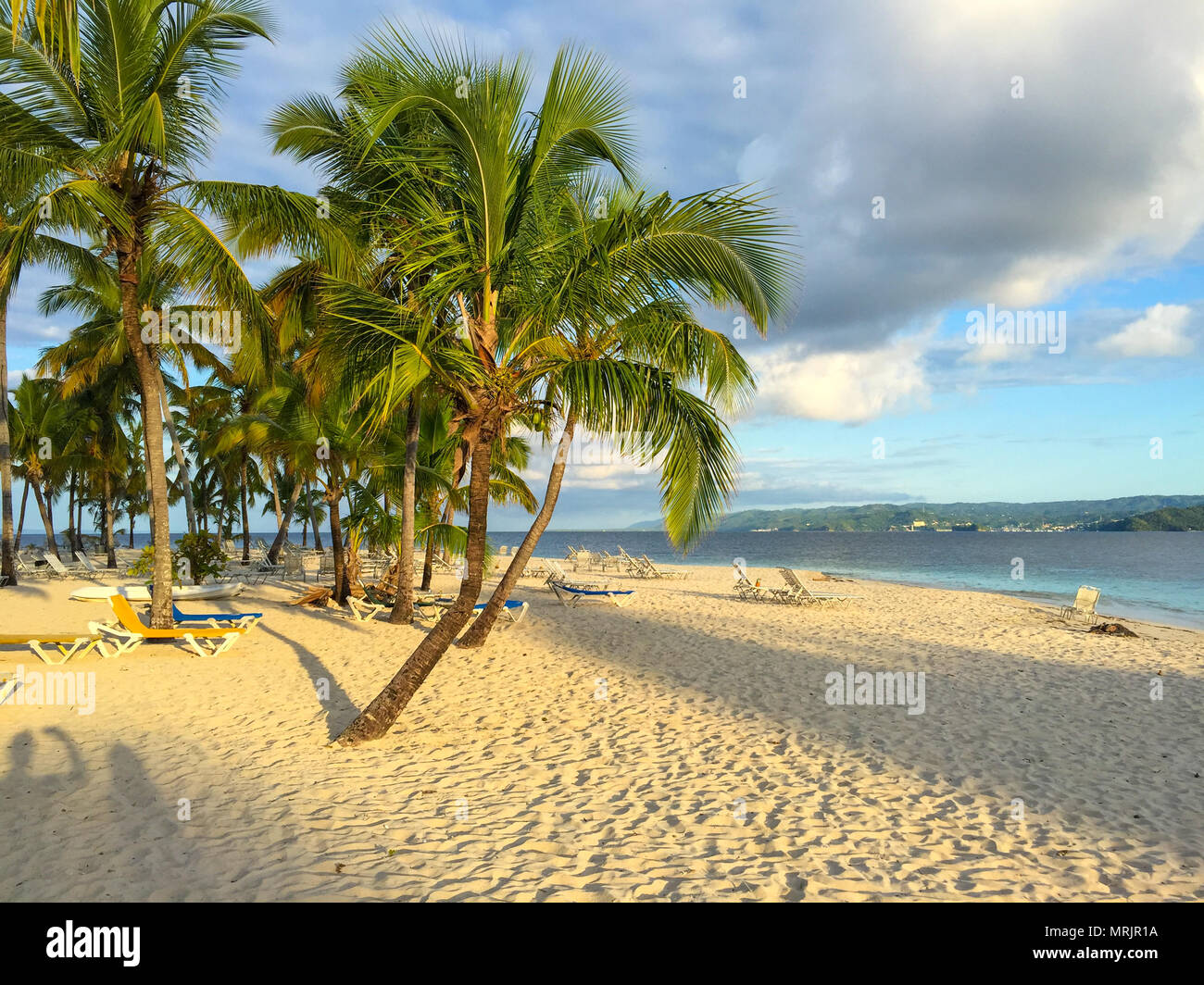 Beach Caribbean Sea, beautiful sandy beach, palms and sunbeds, shadow of the sun - Stock Image