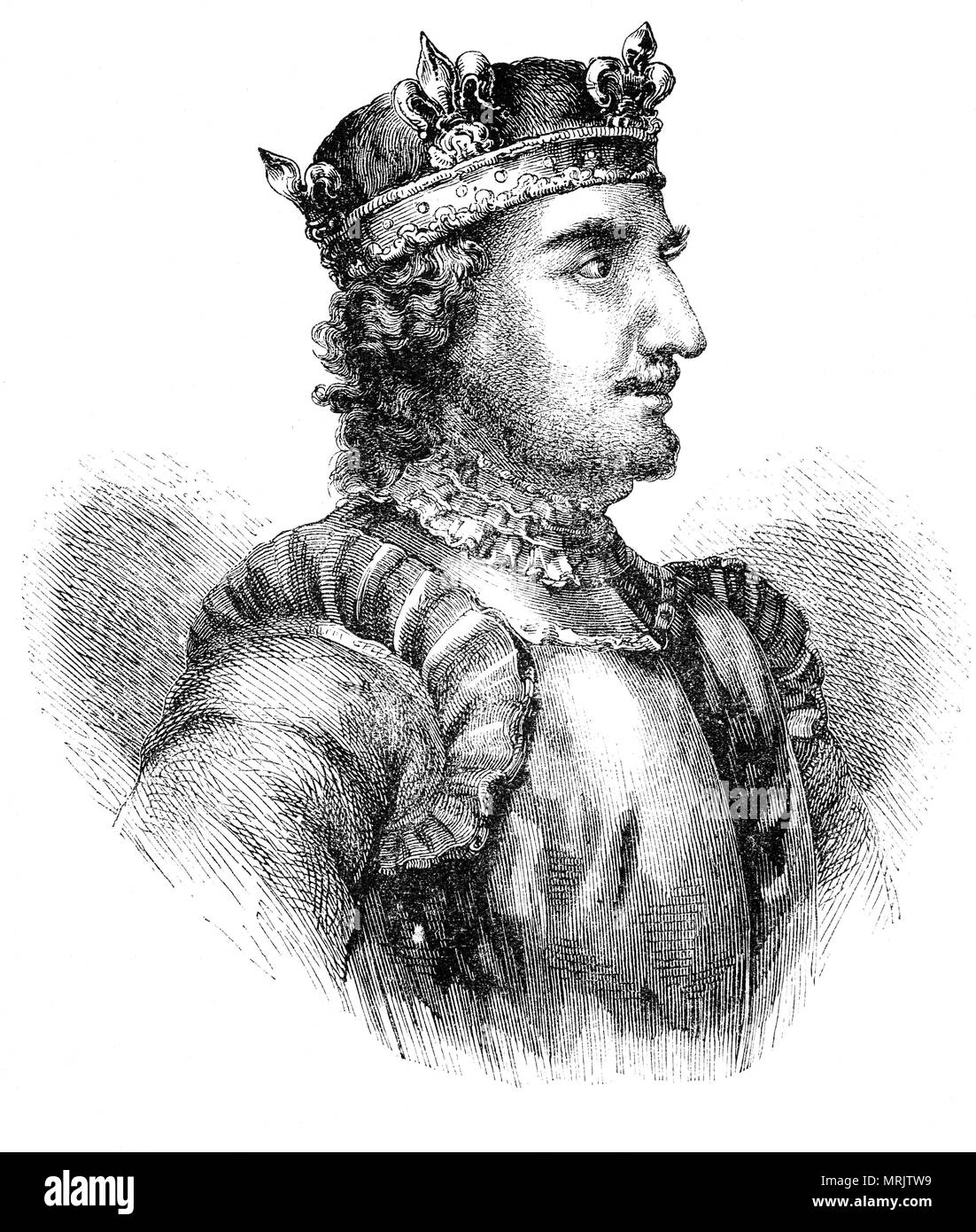 Stephen of Blois, (1092/6–1154) was King of England from 1135 to his death and Duke of Normandy. His reign was marked by the Anarchy, a civil war with his cousin and rival, the Empress Matilda. Stephen narrowly escaped drowning with Henry I's son, William Adelin, in the sinking of the White Ship in 1120 which left the succession of the English throne open to challenge. When Henry I died in 1135, Stephen quickly crossed the English Channel and took the throne. - Stock Image