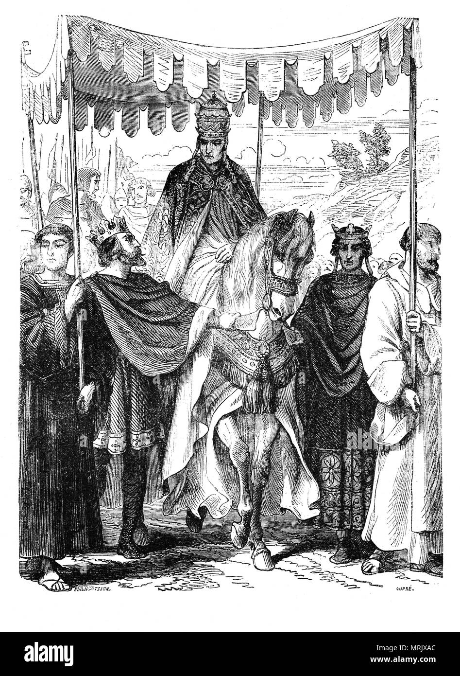 King Louis VII of France and King Henry II of England who recognized the authority of Pope Alexander III escorting him in France.  On 7 September 1159, Pope Alexander III was chosen as the successor of Pope Adrian IV. However a schism occured when a minority of the cardinals, however, elected the cardinal priest Octavian, who assumed the name of Victor IV and became the German Emperor's antipope and he received the approval of most of the kingdoms of Europe. - Stock Image