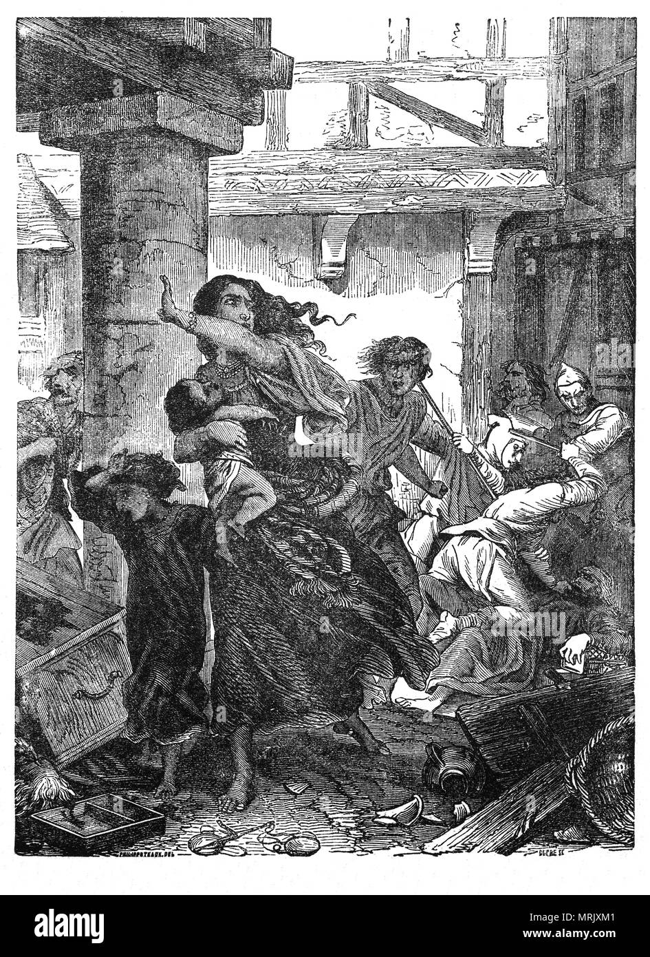 The massacre of Jews during the coronation of King Richard I at Westminster Abbey on 3 September 1189. Richard barred all Jews from the investiture and when a rumour spread that Richard had ordered all Jews to be killed, the people of London attacked the Jewish population. Realising that the assaults could destabilise his realm on the eve of his departure on crusade, Richard distributed a royal writ demanding that the Jews be left alone and ordered the execution of those responsible for the most  murders and persecutions. - Stock Image