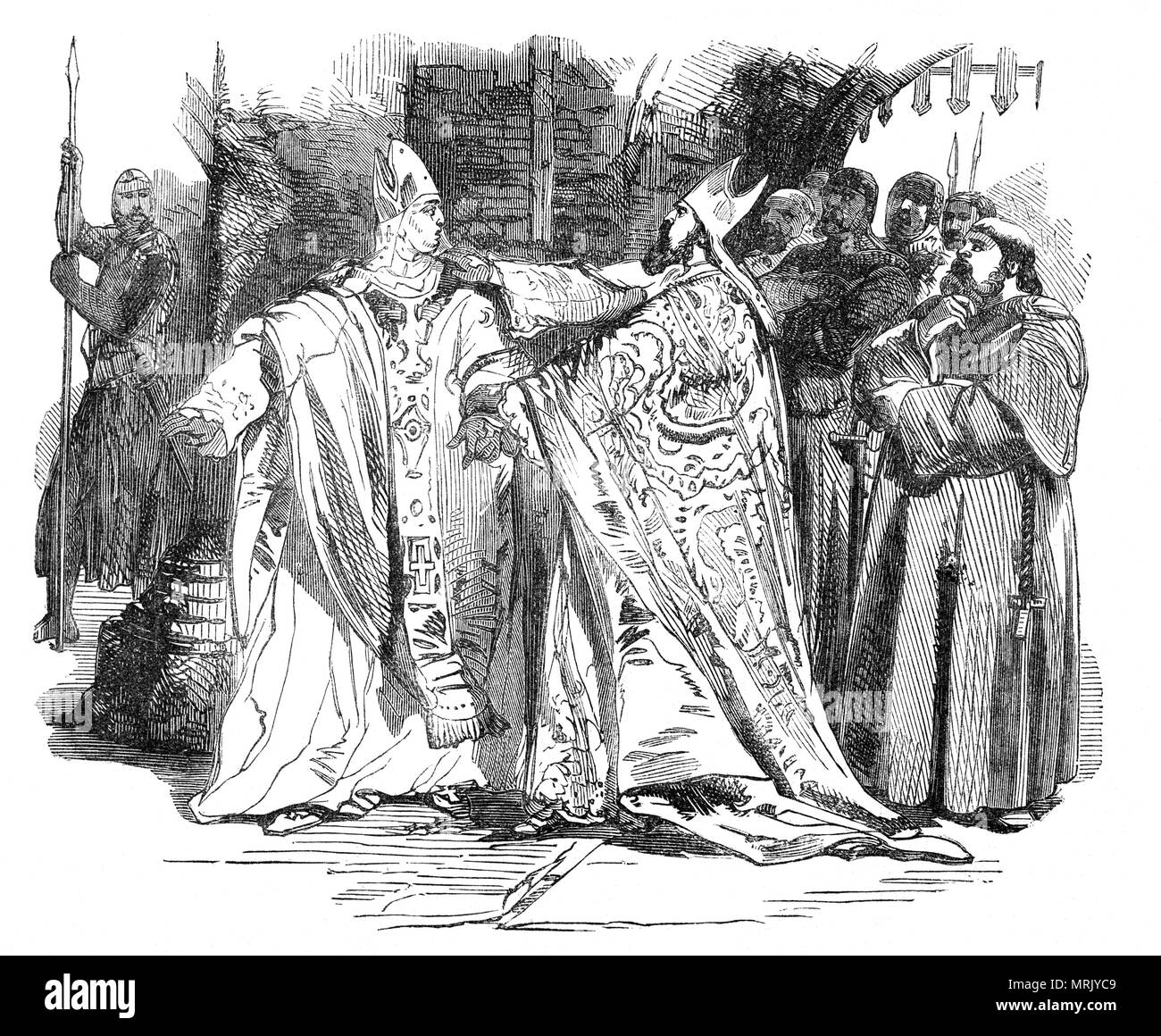 William de Longchamp, medieval Lord Chancellor, Chief Justiciar, and Bishop of Ely in England arresting Hugh de Puiset aka Hugh Pudsey, a medieval Bishop of Durham and Chief Justiciar of England under King Richard I.  Longchamp and Puiset were unable to work together, and so in March 1190 Richard gave authority north of the River Humber to Hugh, and authority south of the river to Longchamp, but  opinions are divided whether Richard explicitly made Longchamp superior to Puiset at this time, or if in theory the two were supposed to co-equal in their respective spheres. - Stock Image