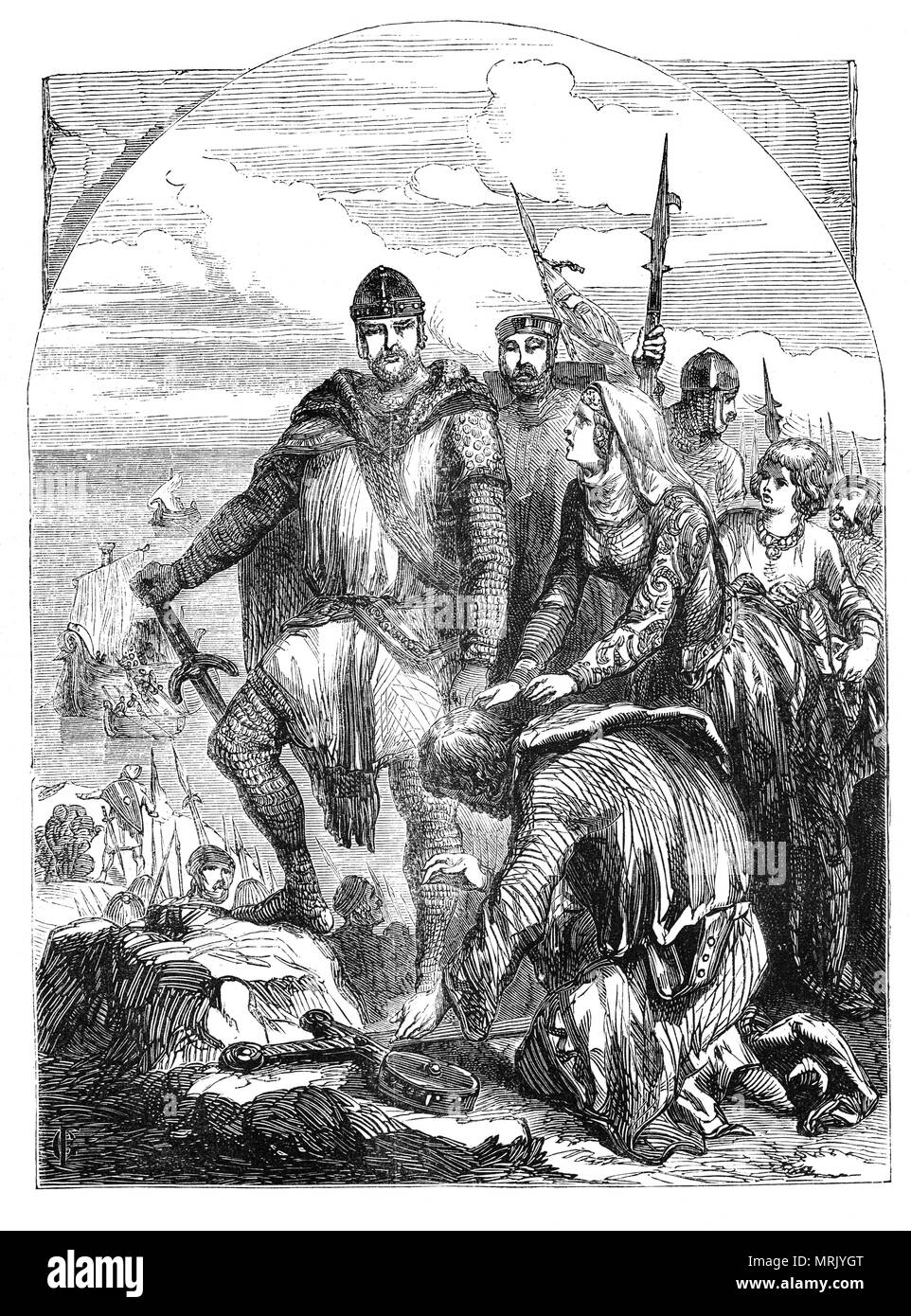 Following the capture of King Richard I in 1192 near Vienna by Austrian soldiers of Leopold V, Duke of Austria, he was held prisoner for some fifteen months. During that time, Prince John, Richard's brother, and King Philip of France offered 80,000 marks for the Emperor to hold Richard prisoner. The money to rescue the King was transferred to Germany by the emperor's ambassadors'at the king's peril' (had it been lost along the way, Richard would have been held responsible), and finally, on 4 February 1194 Richard was released. On Richards return John begged the king for forgiveness. - Stock Image