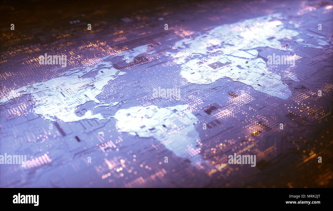Digital world, 3D shape world map of electronic and digital components conceptually representing the world's technology. Cloud computing, internet, co - Stock Image
