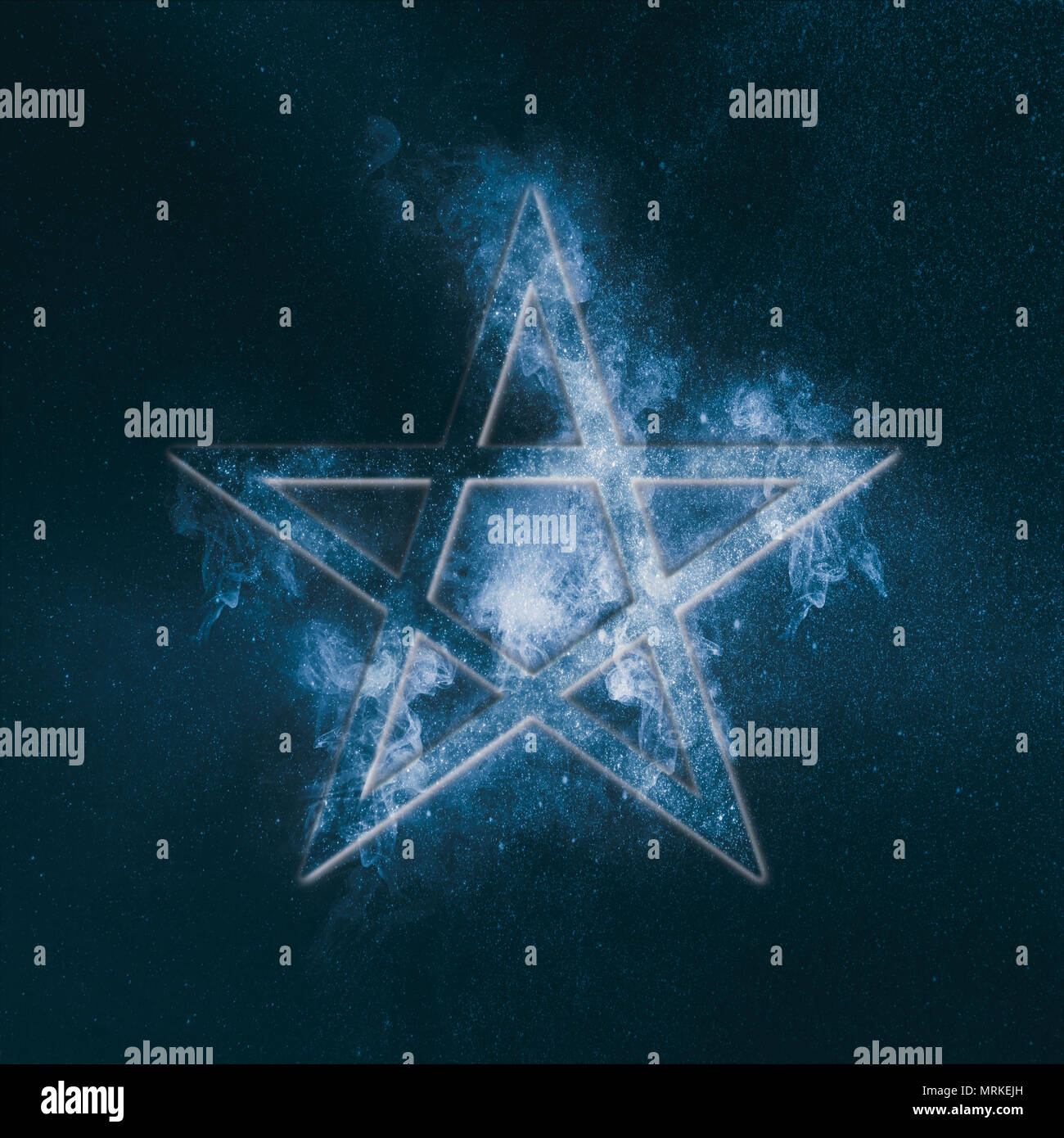 Pentagram Symbol Abstract Night Sky Background Stock Photo