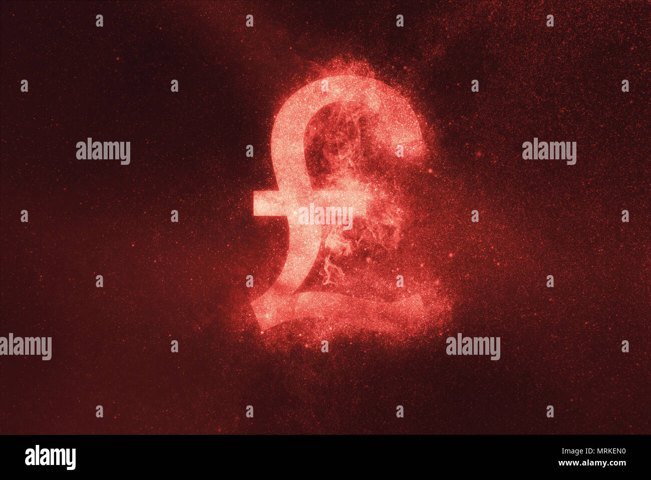 Pound sterling sign, Pound sterling Symbol. Abstract night sky background - Stock Image
