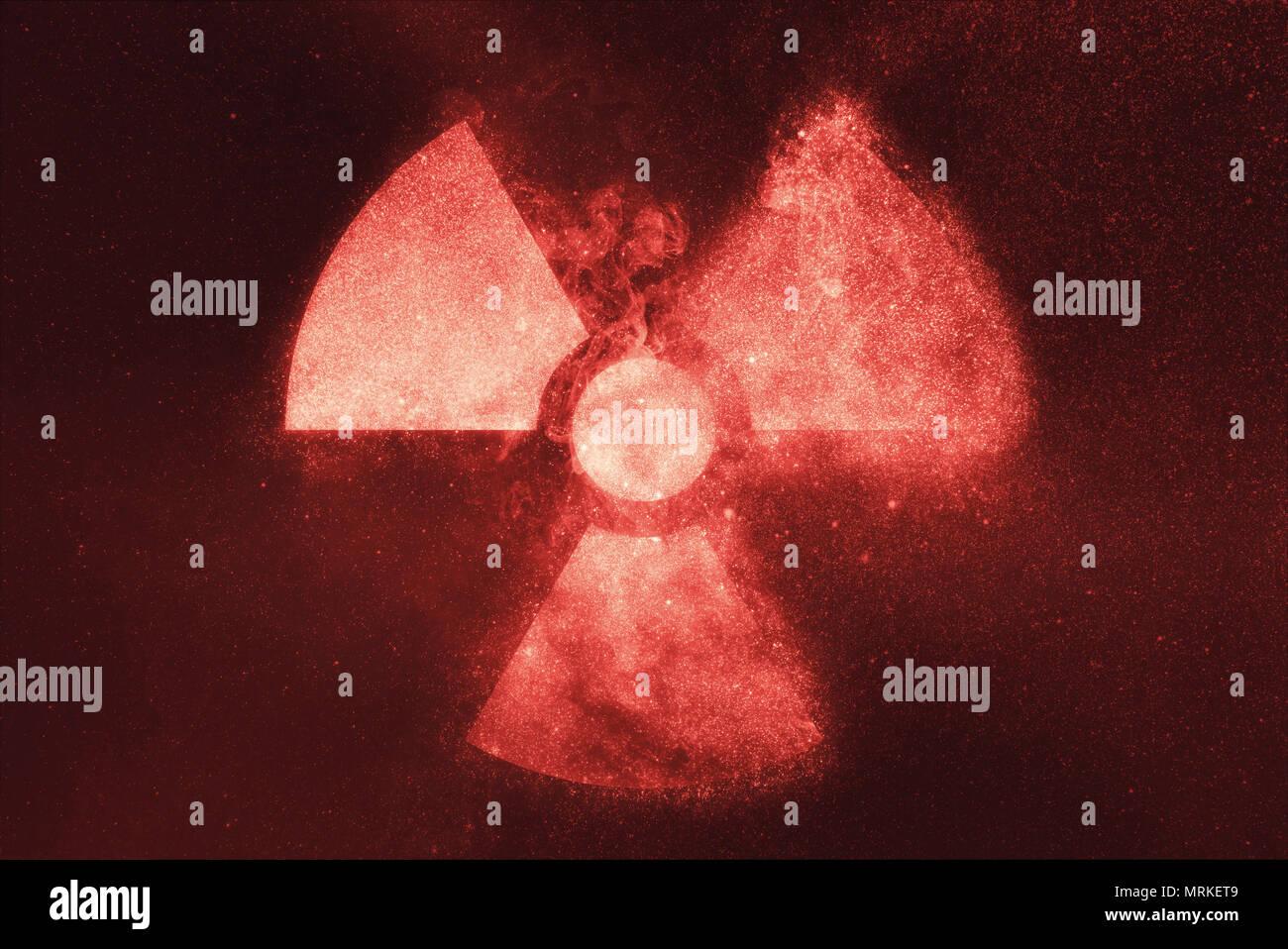 Radiation sign, Radiation symbol. Abstract night sky background - Stock Image