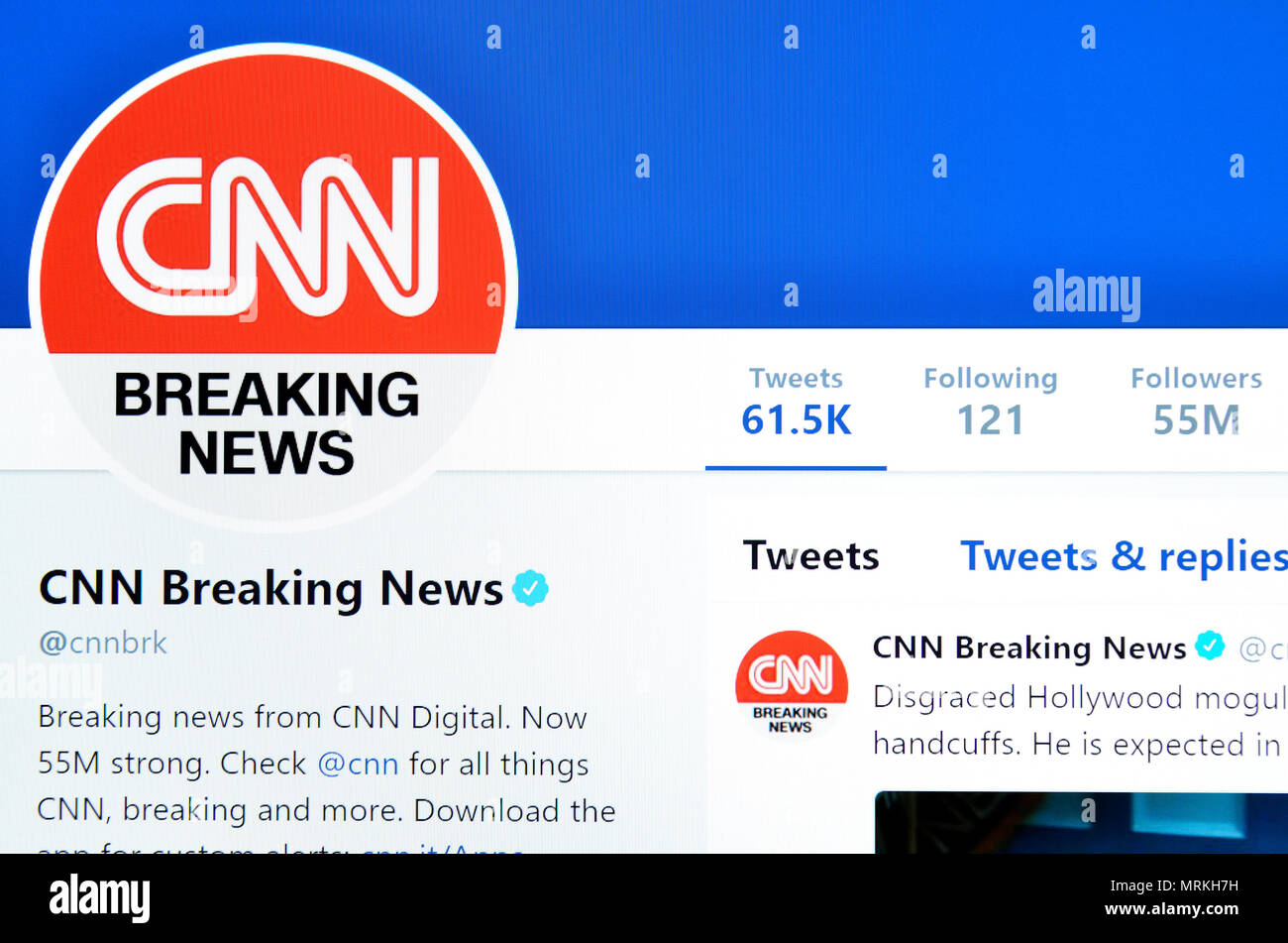 CNN Breaking News Twitter page (2018) - Stock Image