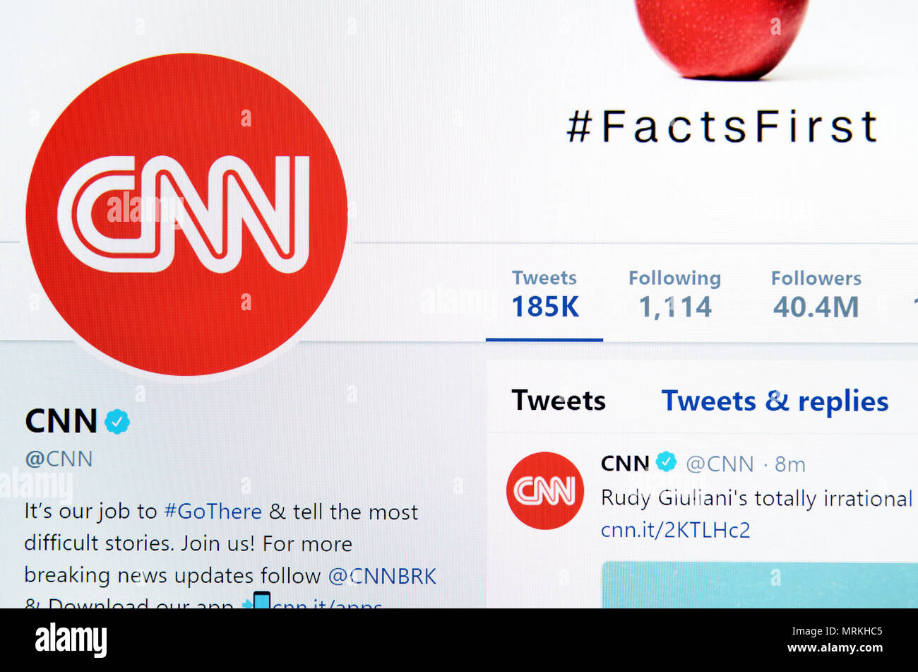 CNN Twitter page (2018) - Stock Image