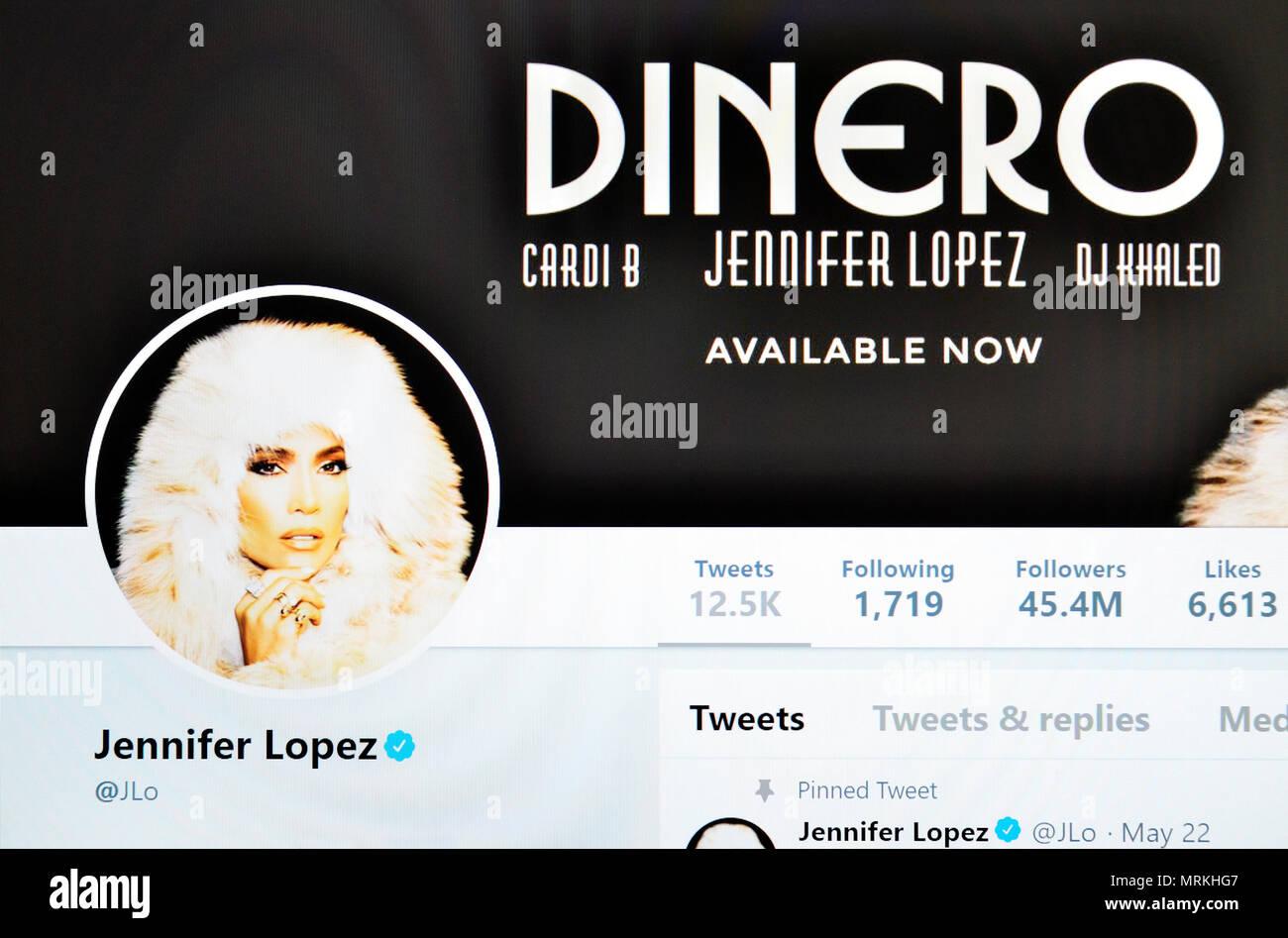 Jennifer Lopez Twitter page (2018) - Stock Image