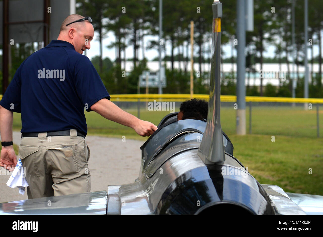 Sgt Ryan Lundin 337th Recruiting Squadron Recruiter Escorts An Attendee The Sumter County Sheriffs Offices Annual Youth Conference On A Motorized F 16