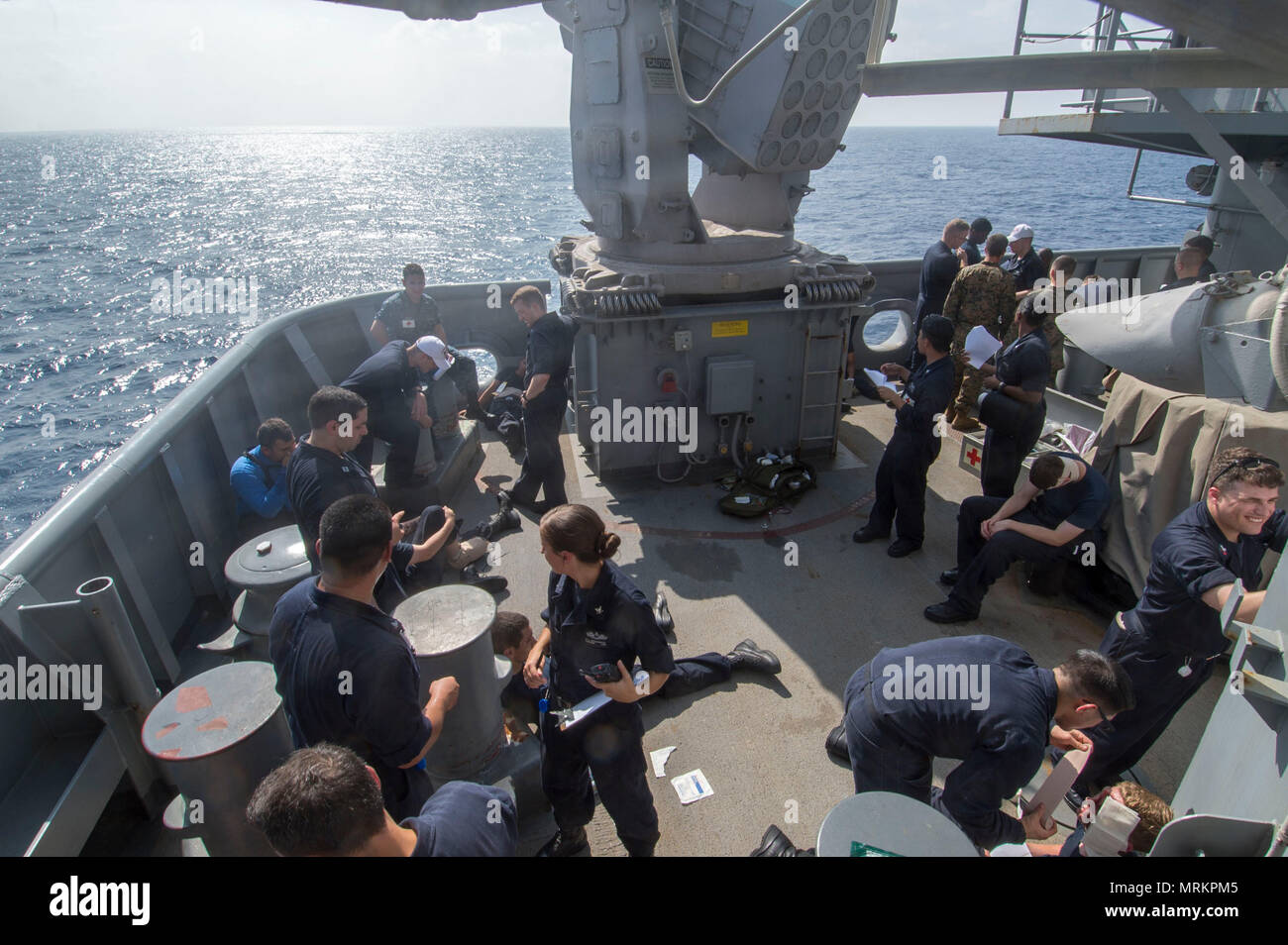 170621-N-DL434-069 SOLOMON SEA (June 21, 2017) Bonhomme Richard flagship of the Bonhomme Richard Expeditionary Strike Group, is operating in the Indo-Asia-Pacific region to enhance partnerships and be a ready-response force for any type of contingency. (U.S. Navy photo by Mass Communications Specialist Seaman Apprentice Gavin Shields/Released) Stock Photo