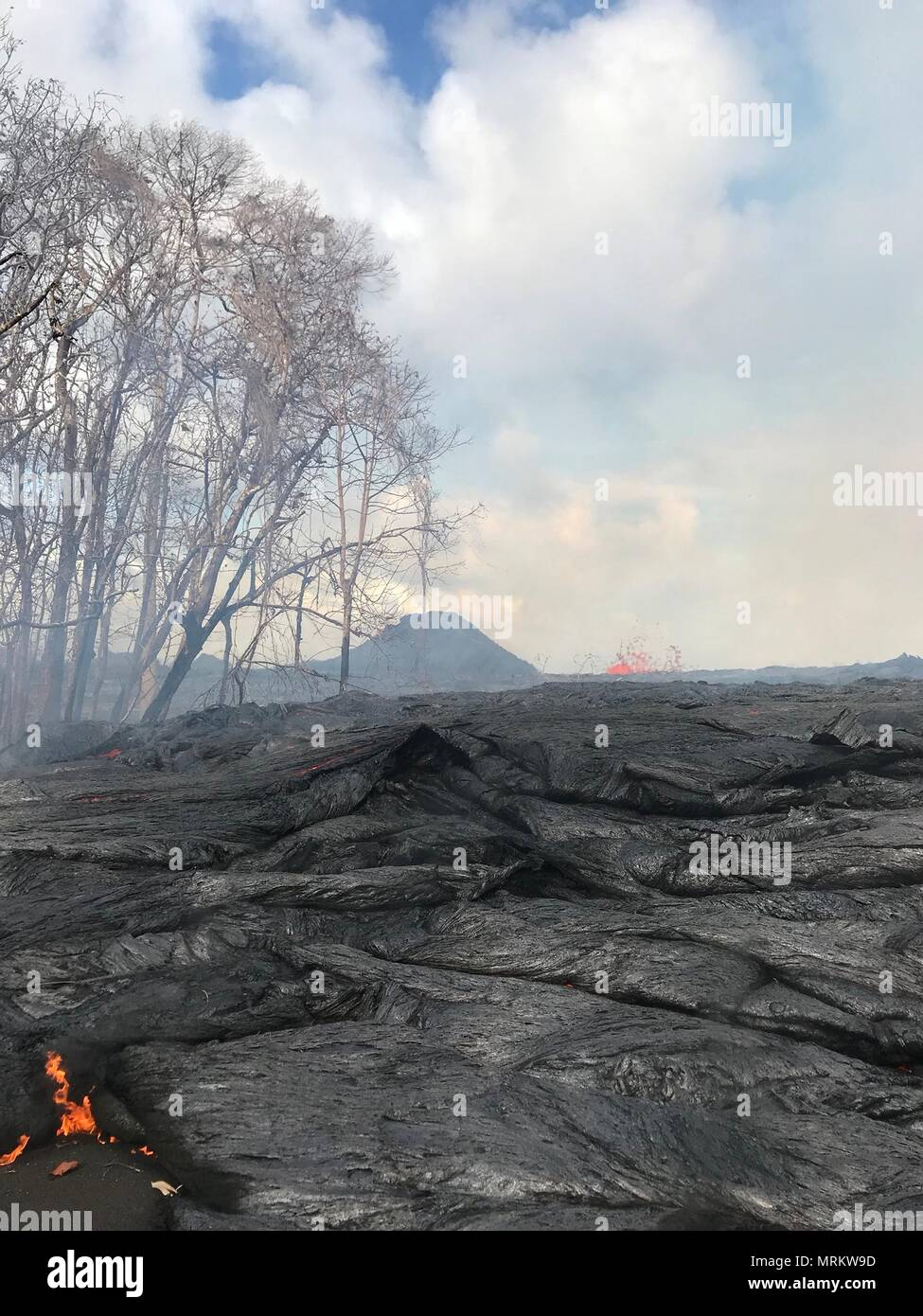 Lava continues to bubble up from fissures caused by the eruption of the Kilauea volcano May 24, 2018 in Pahoa, Hawaii. - Stock Image