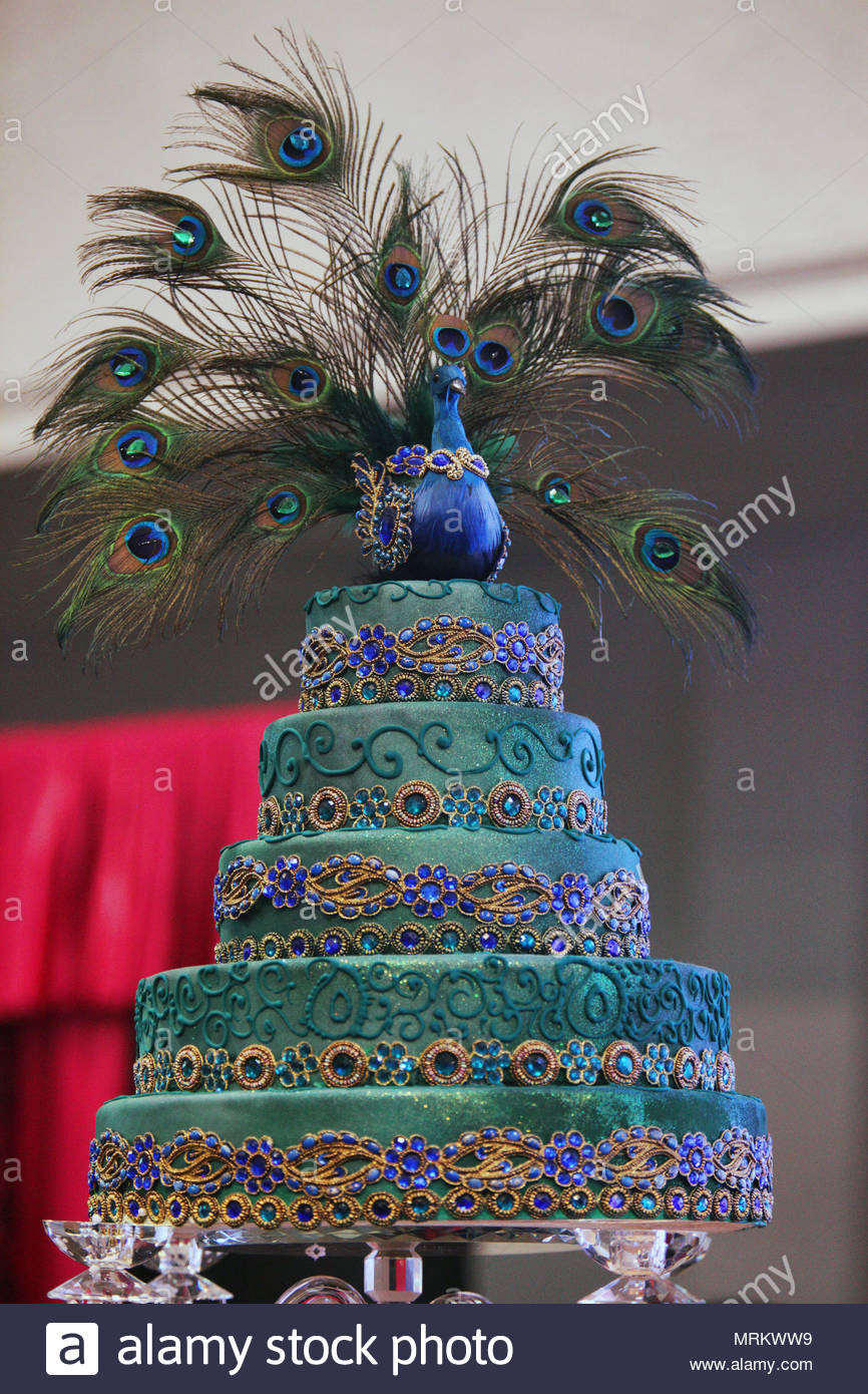 Peacock Wedding Cake.An Ornate South Asian Themed Wedding Cake With Peacock On
