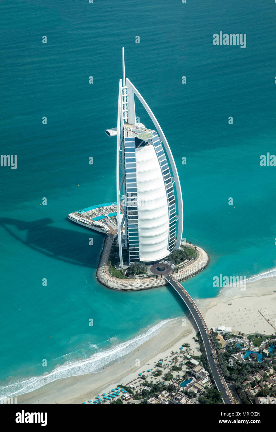 Dubai, United Arab Emirates, 18th May, 2018: aerial view of world most highly rated hotel Burj Al Arb - Stock Image