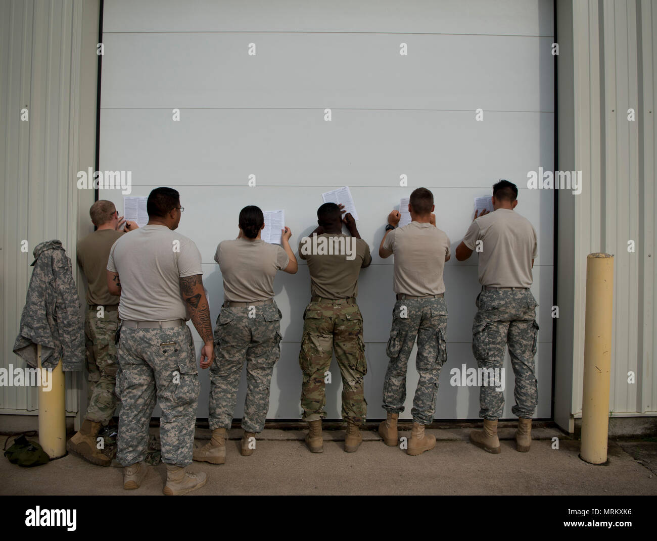 U S Army Reserve Military Police From The 324th Mp Battalion Located In Fresno California And The 422nd Mp Company In Bakersfield California Sign Waivers Before A Taser Certification Class During Guardian Justice