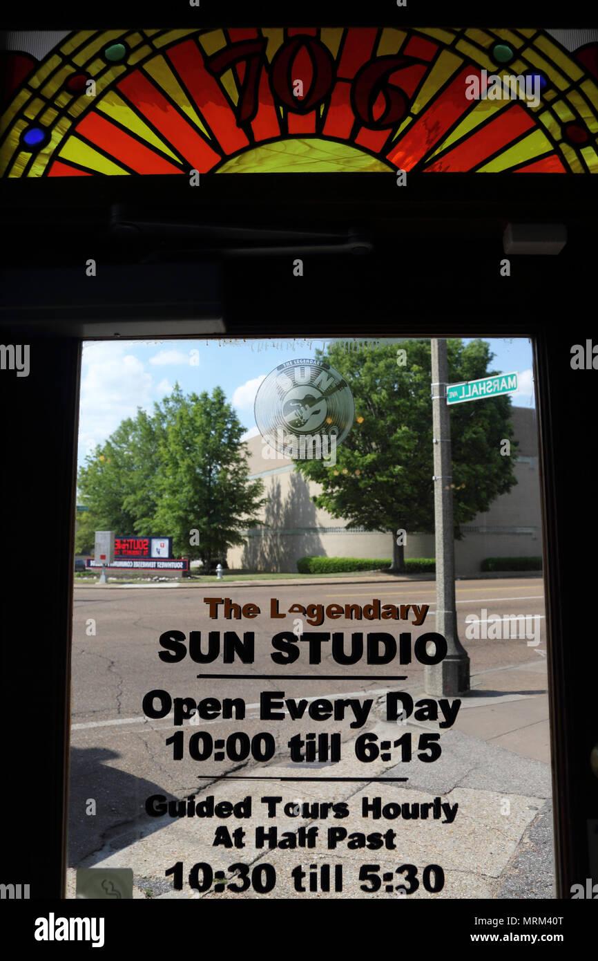 Glass Door Of Legendary Sun Studio In Memphistennesseea Stock
