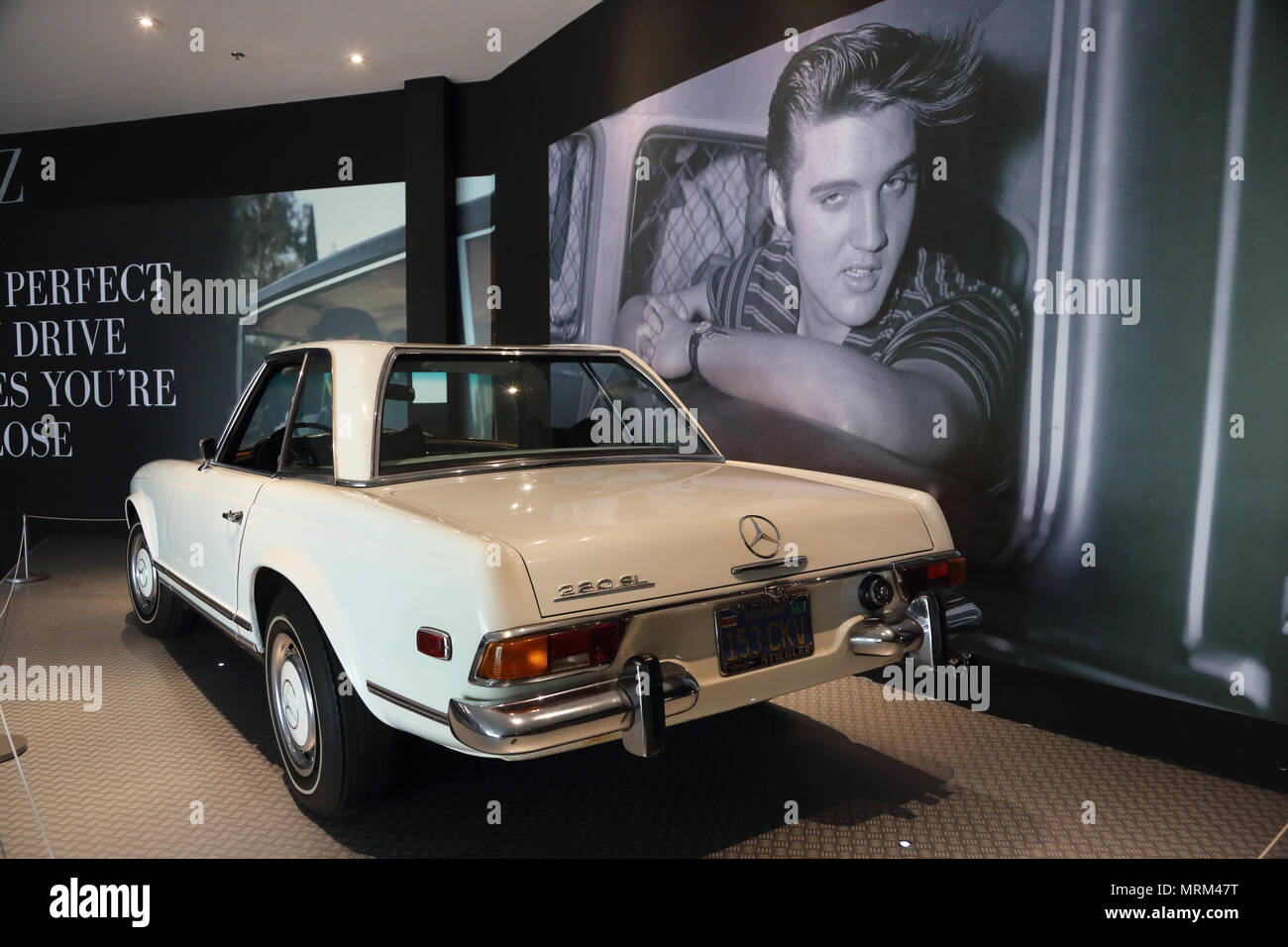 Elvis' Mercedes Benz 280 SL Roadster display inside Presley Motors Automobile Museum in Graceland the home of Elvis Presley.Memphis,Tennessee.USA - Stock Image