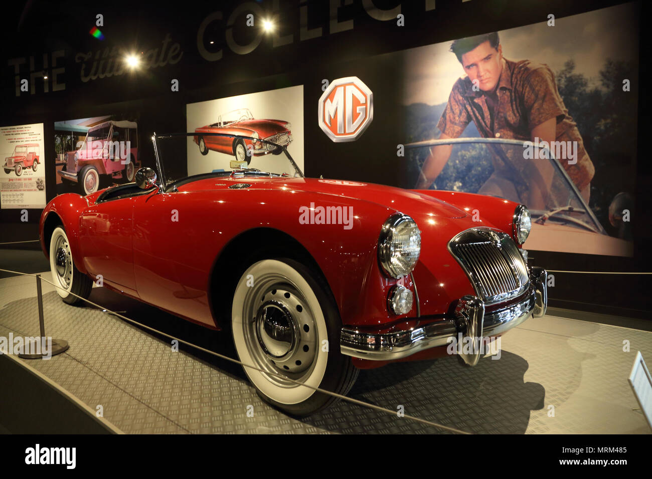 Elvis Presley's red MG sports car display in Presley Motors Automobile Museum in Graceland the home of Elvis Presley.Memphis,Tennessee.USA - Stock Image