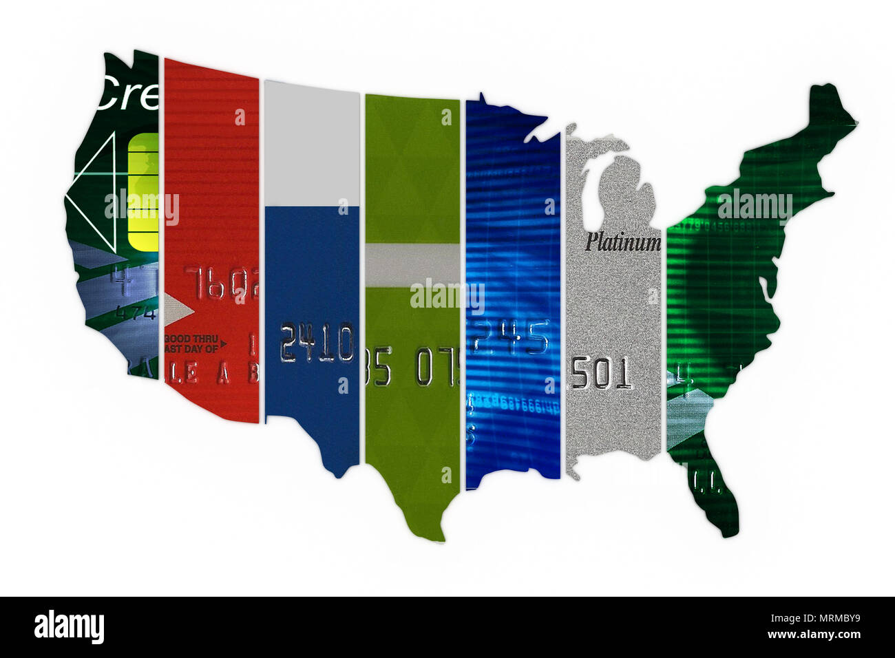 The United States of credit,Various credit cards in the shape of the United States, credit card debt in usa - Stock Image