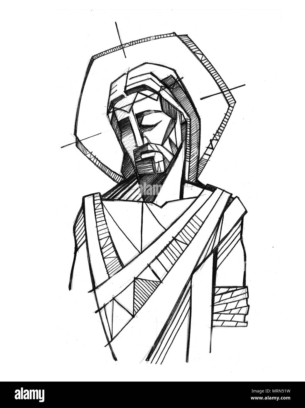 Hand drawn illustration or drawing of jesus christ at his passion