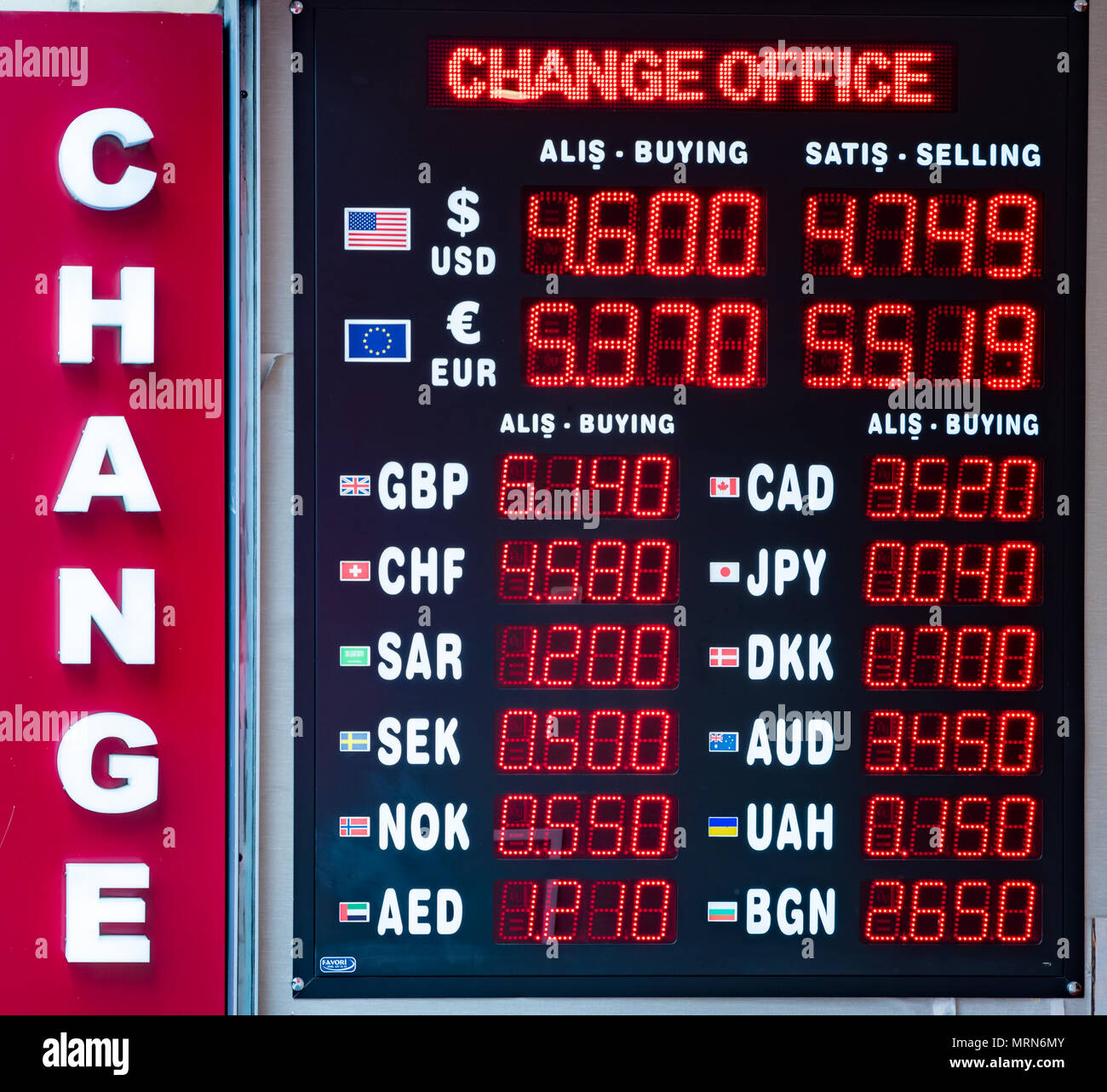Turkish lira foreign exchange rates displays on a digital LED display board  in Istanbul, Turkey, Stock Photo
