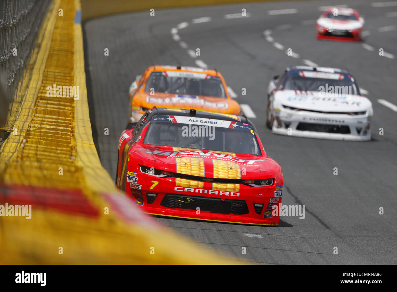 Concord, North Carolina, USA. 26th May, 2018. Justin Allgaier (7) brings his car through the turns during the Alsco 300 at Charlotte Motor Speedway in Concord, North Carolina. Credit: Chris Owens Asp Inc/ASP/ZUMA Wire/Alamy Live News - Stock Image