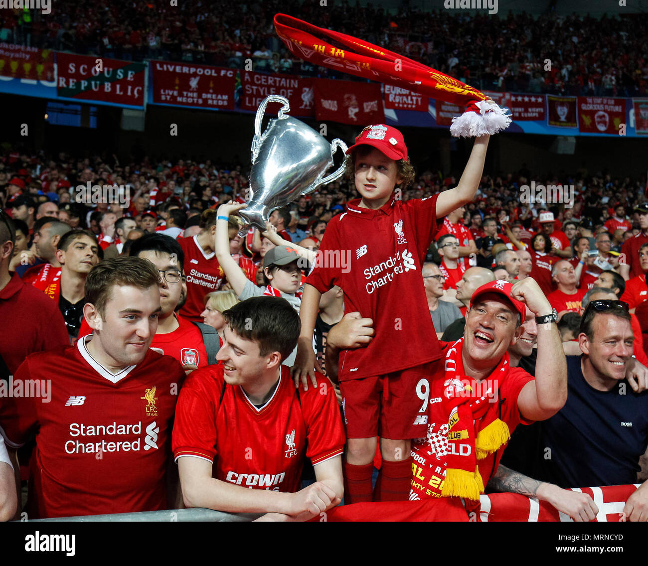 Kiev, Ukraine. 26th May, 2018. Liverpool fans before the UEFA Champions League Final match between Real Madrid and Liverpool at Olimpiyskiy National Sports Complex on May 26th 2018 in Kyiv, Ukraine. (Photo by Daniel Chesterton/phcimages.com) Credit: PHC Images/Alamy Live News Stock Photo