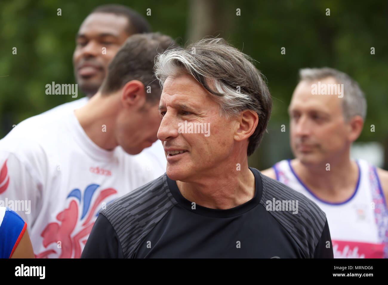 London,UK, 27th May 2018,Lord Sebastian Coe,British politician and former track and field athlete, starts Westminster Mile race along the Mall.Credit Keith Larby/Alamy Live NewsLive News - Stock Image