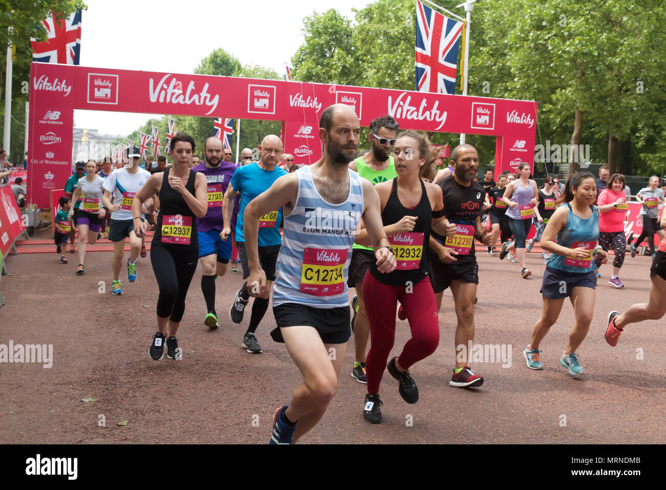 London,UK, 27th May 2018,Lord Sebastian Coe takes partin the Vitality  Westminster Mile race along the Mall.Credit Keith Larby/Alamy Live News - Stock Image