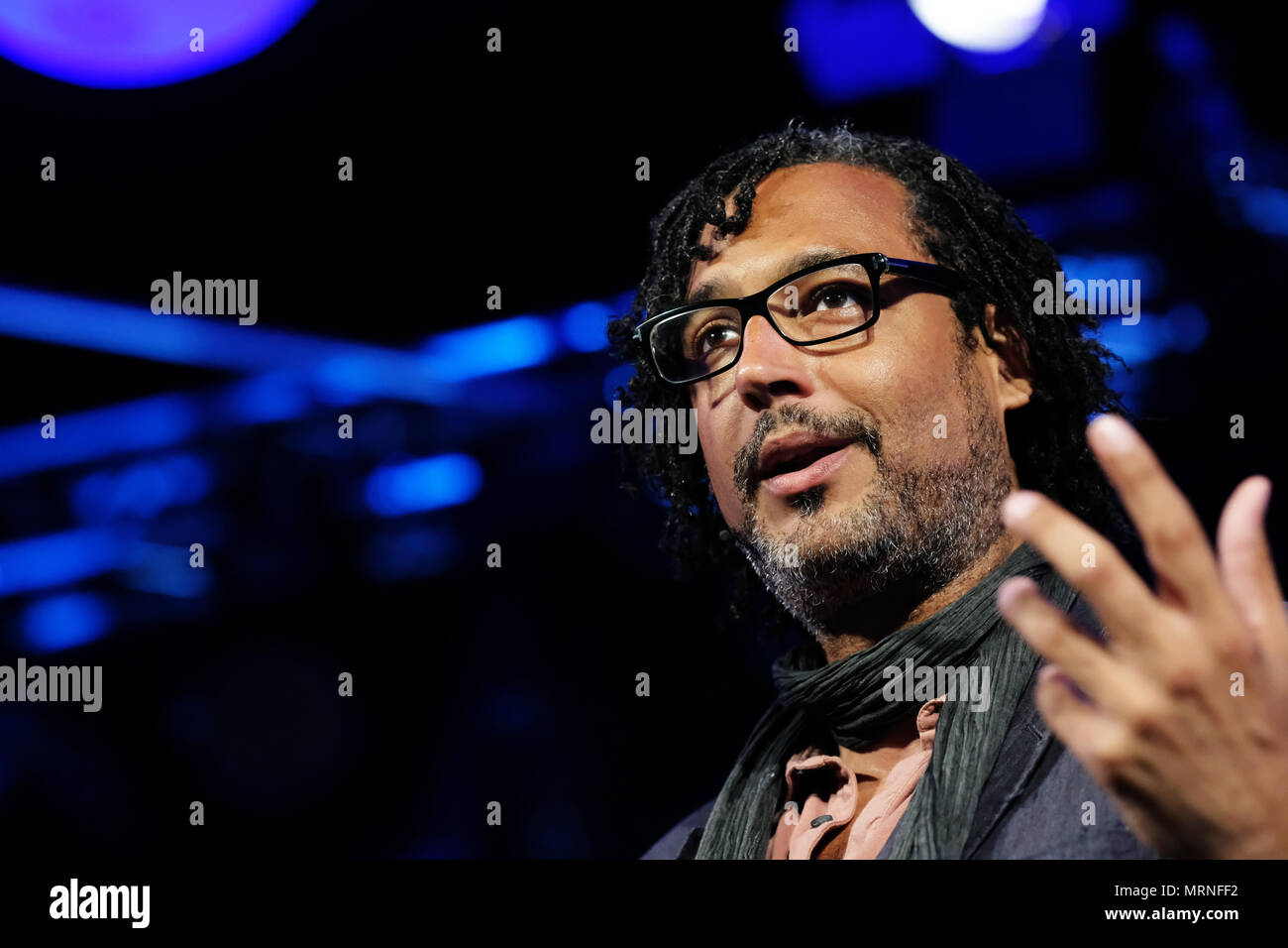 Hay Festival, Hay on Wye, UK - May 2018 - David Olusoga historian, author and broadcaster talks about his book Black and British - A Forgotten History - Photo Steven May / Alamy Live News - Stock Image