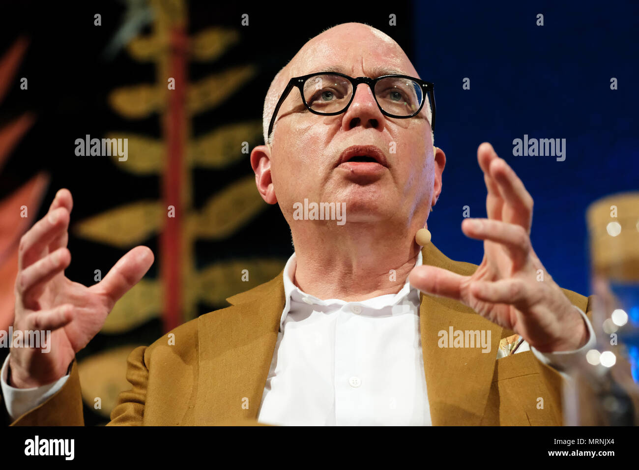 Hay Festival, Hay on Wye, UK - May 2018 - Michael Wolff the journalist and author on stage at the Hay Festival talking about his book Fire and Fury  - Inside the Trump White House - Photo Steven May / Alamy Live News - Stock Image