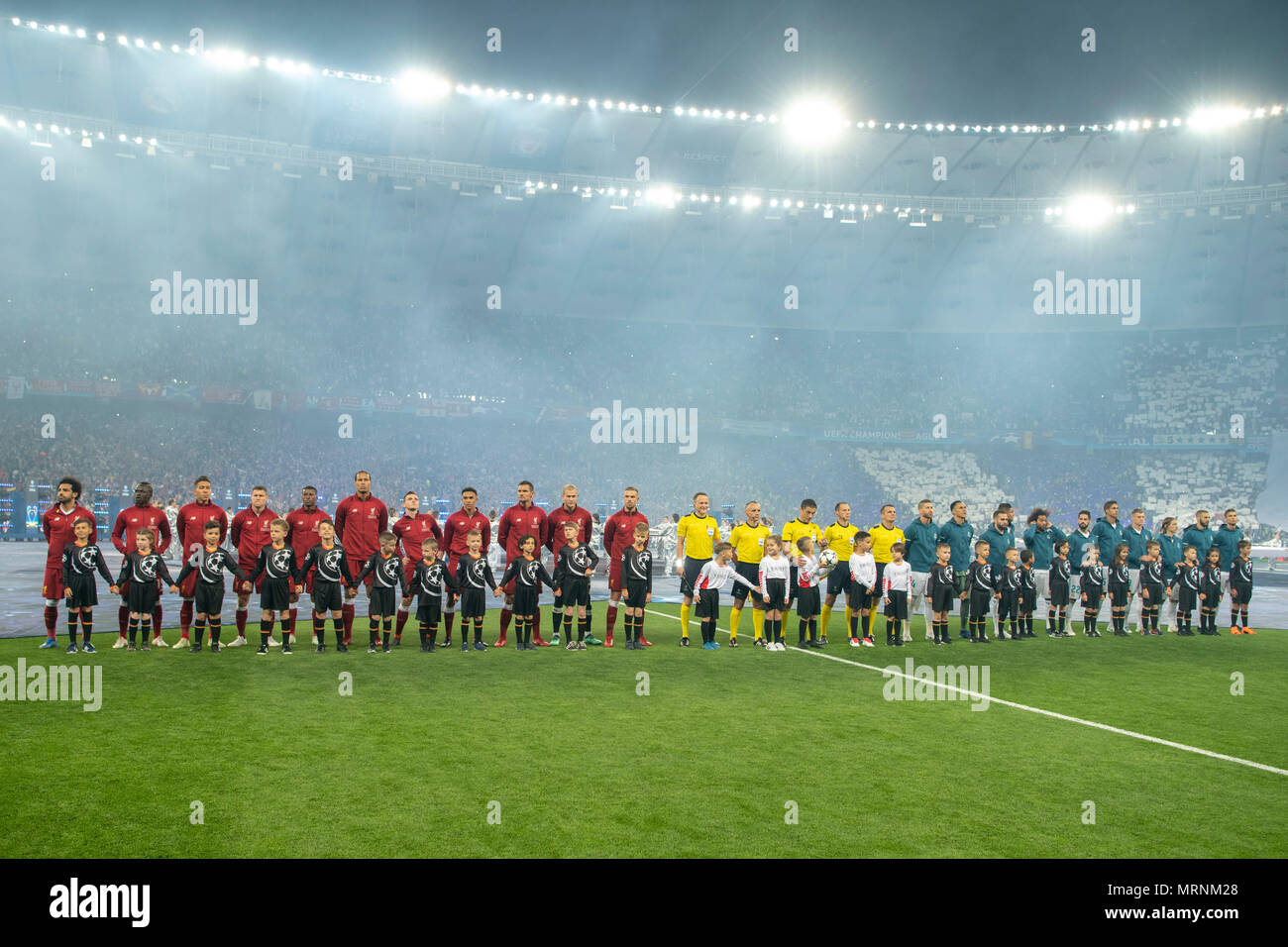 Line Up    during the UEFA Champions League Final match between Real Madrid CF 3-1  Liverpool FC at NSC Olimpiyskiy Stadium in Kiev, Ukraine, on May 26, 2018. (Photo by Maurizio Borsari/AFLO) - Stock Image