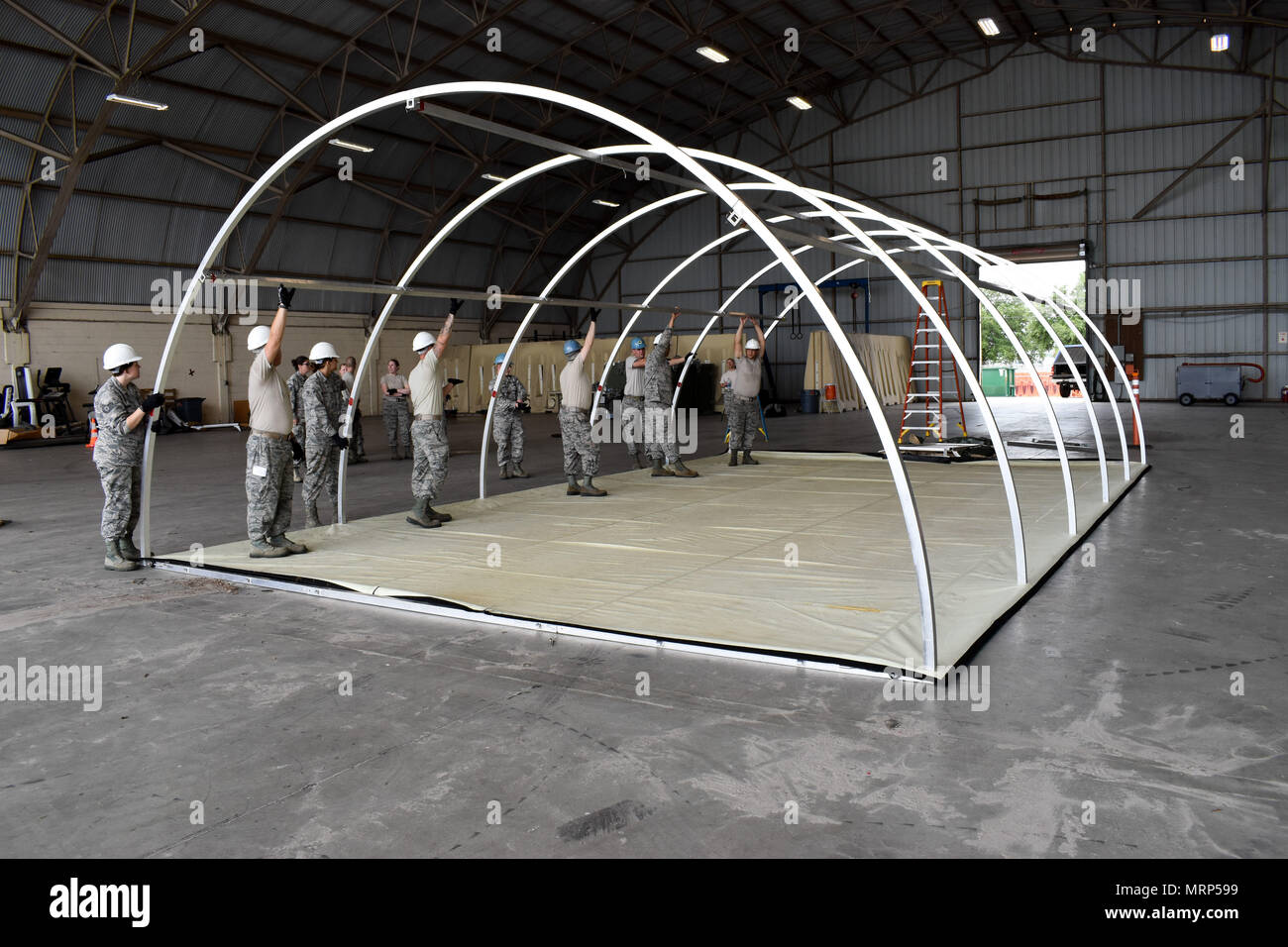 134th Services Flight construct temper tent during an annual