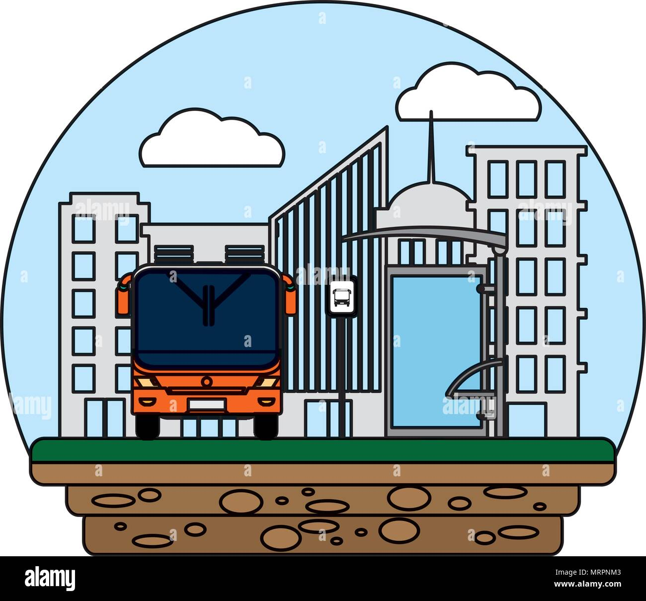 color front bus transport and city passenger - Stock Image