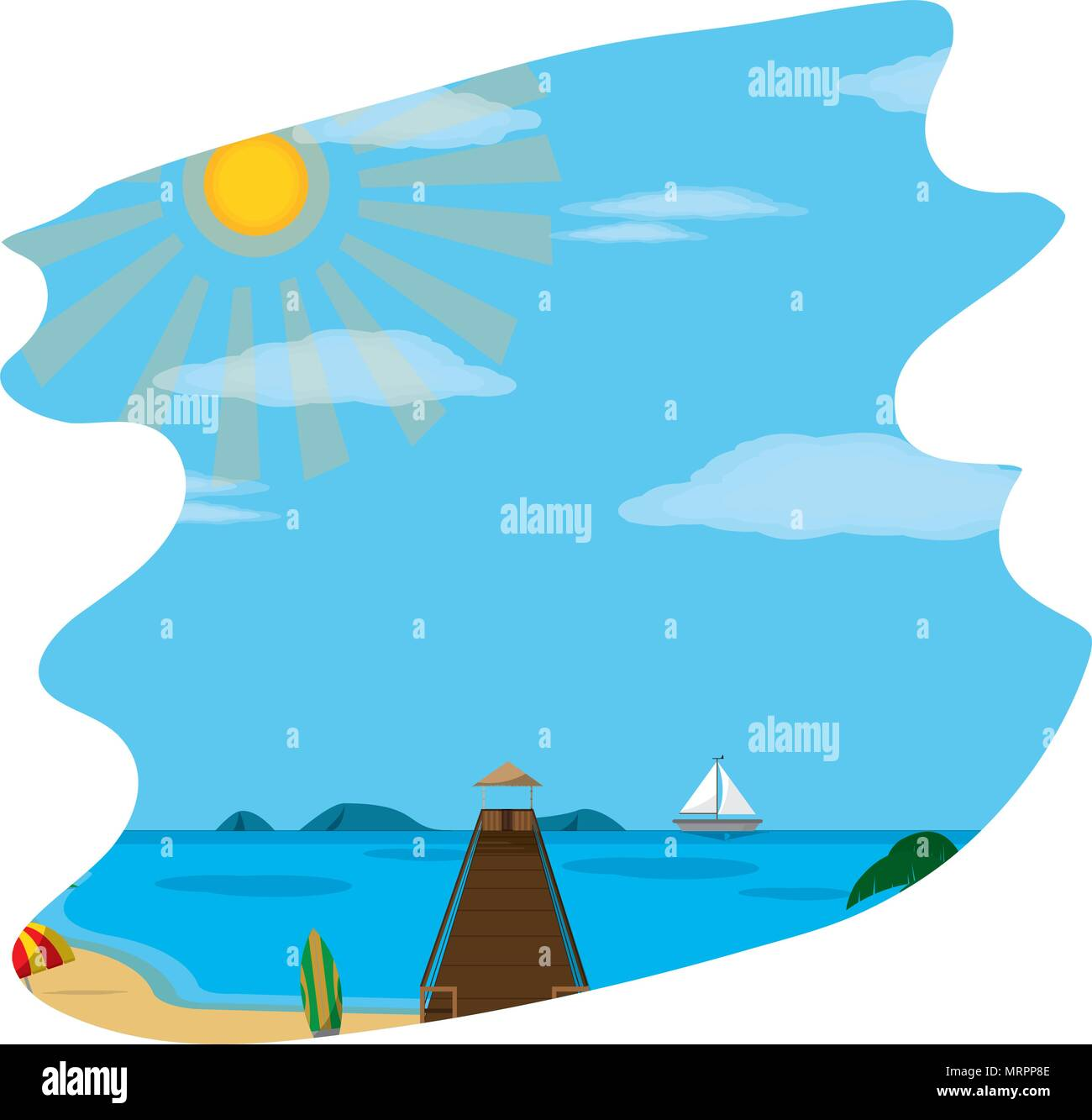 beach ship with surfboard and spring weather - Stock Image