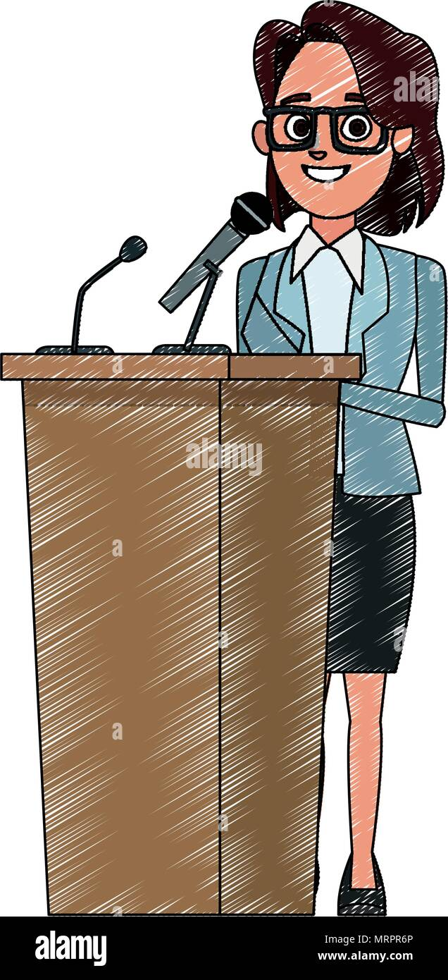 Woman Speaking Microphone Cartoon Illustration High Resolution Stock Photography And Images Alamy