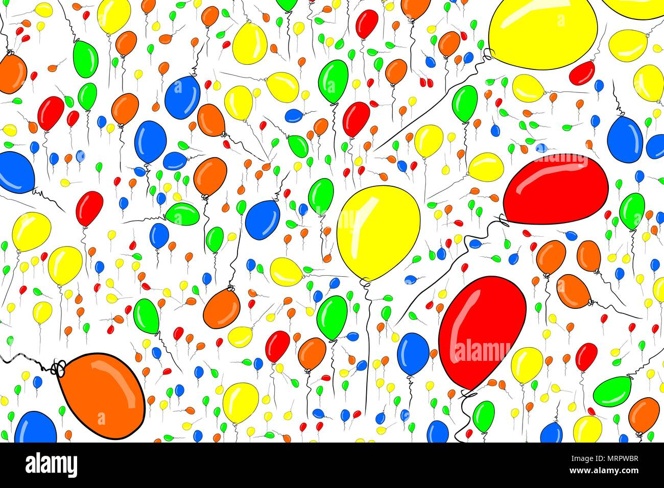 Hand Drawn Flying Balloons Illustrations Background Good