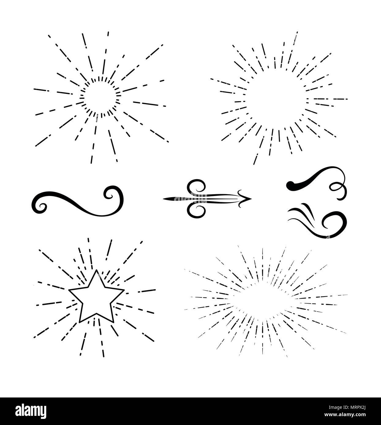 Decorative swirls hand draw - Stock Image