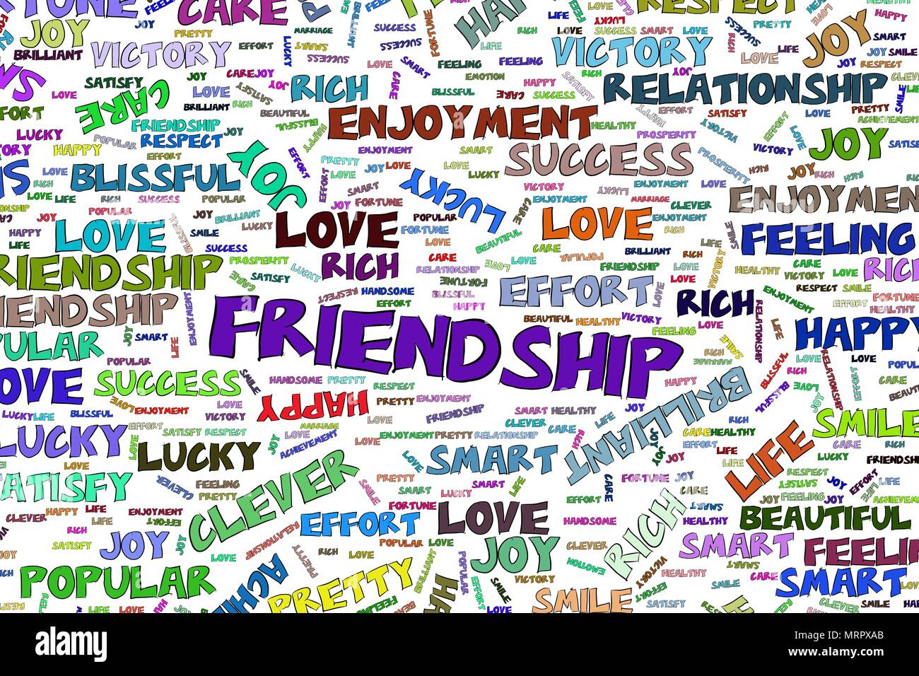 Friendship, abstract positive emotion word cloud