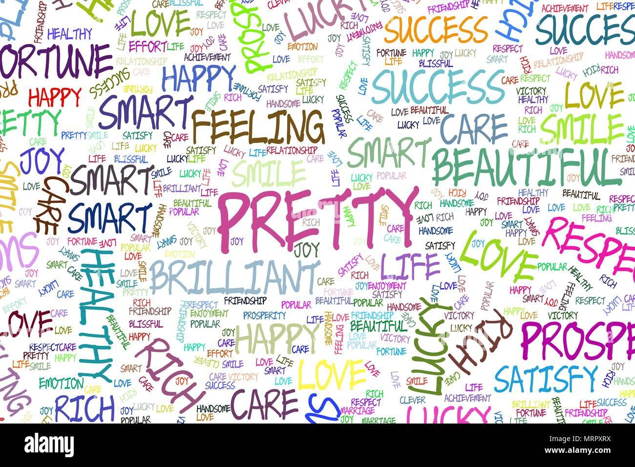 Illustrations Of Positive Emotion Word Cloud Good For Web Page