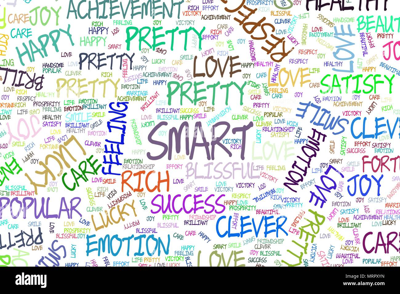Smart Decorative Hand Drawn Positive Emotion Word Cloud
