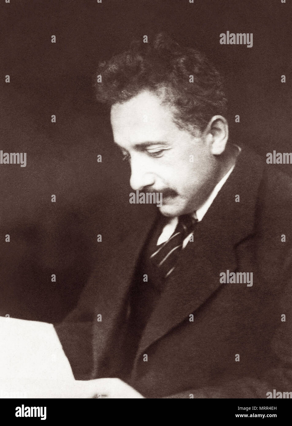 Albert Einstein (1879-1955) was a theoretical physicist who won the 1921 Nobel Prize for Physics and developed the theory of relativity. - Stock Image