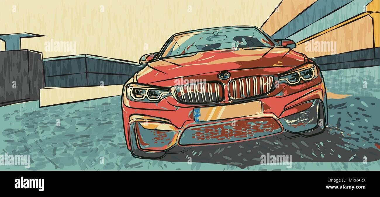 BMW Beamer Illustration - Stock Vector