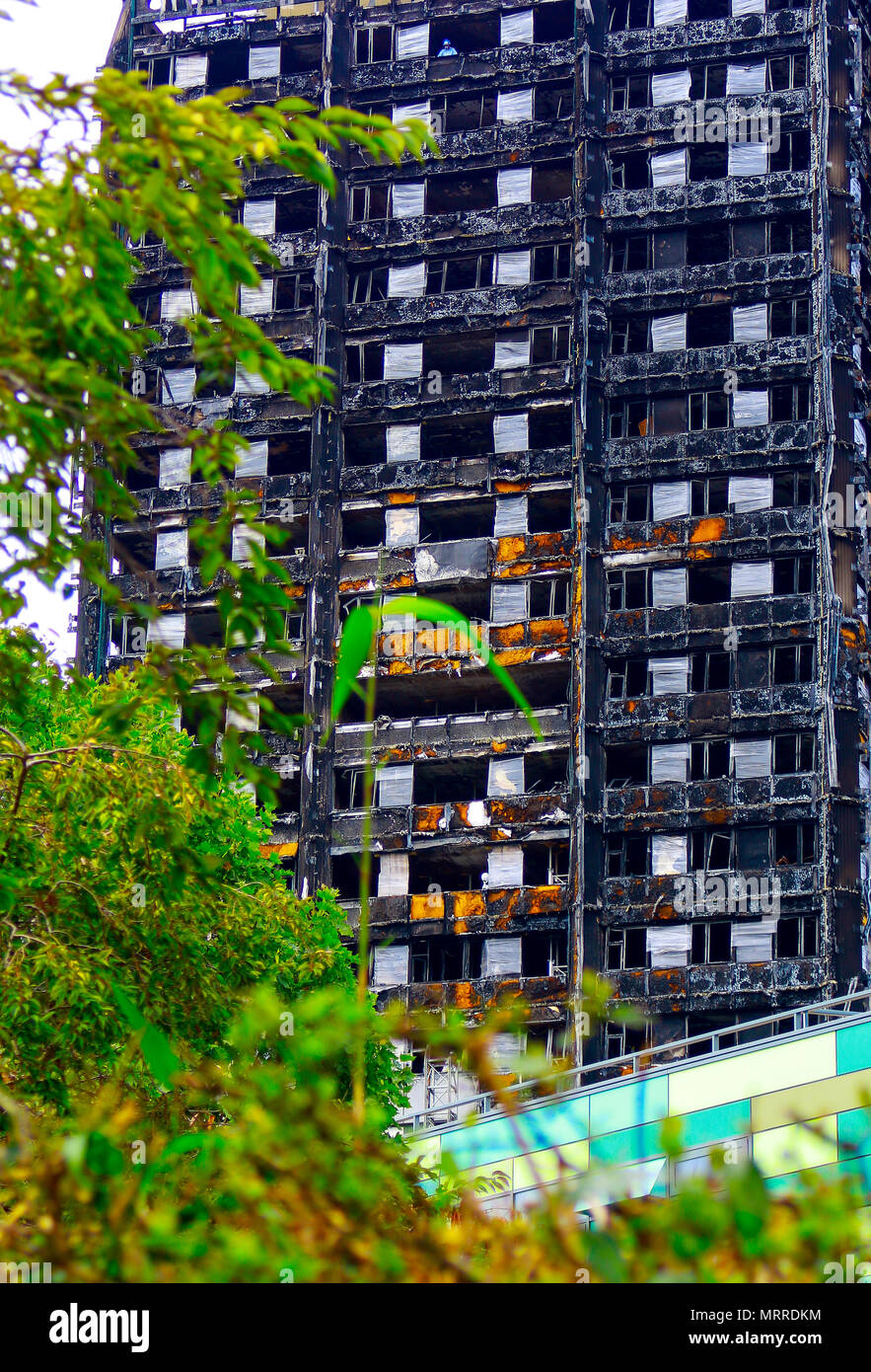 Street view of the burnt out Grenfell Tower after the fire of 14th June 2017 - Stock Image