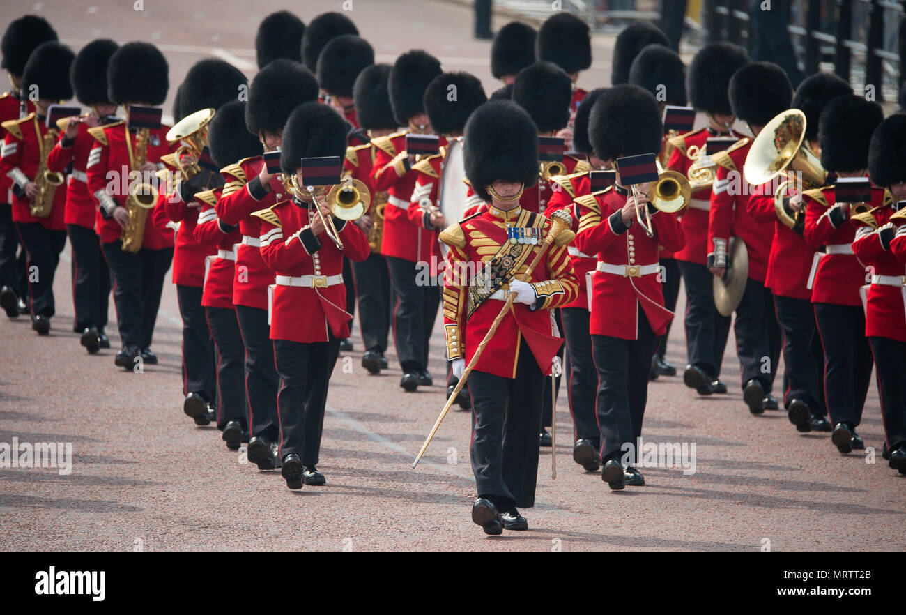 The Mall, London, UK. 26 May 2018. Major General's Review is held, the first rehearsal for the Queen's Birthday Parade or Trooping the Colour. Stock Photo