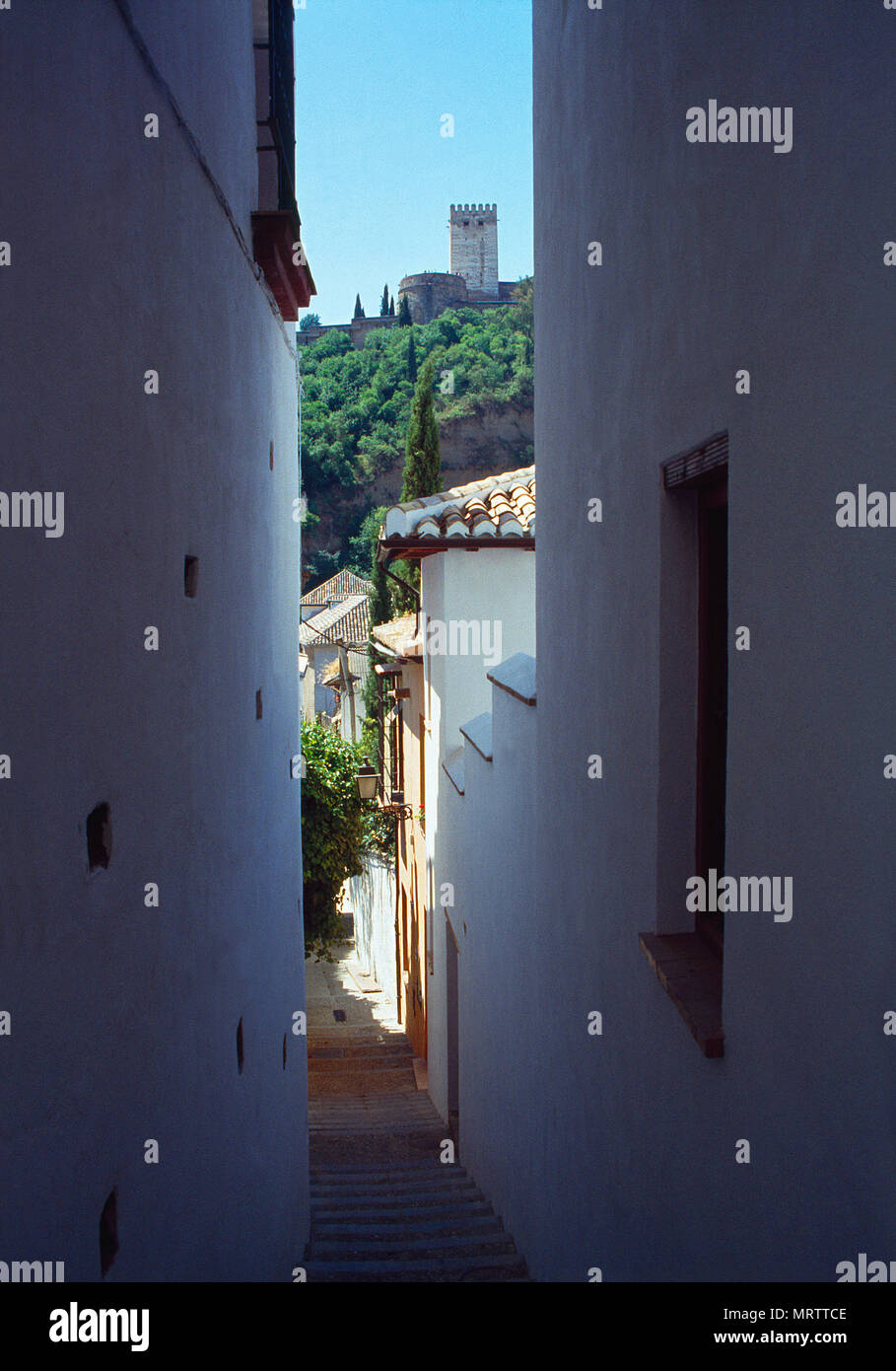 La Alhambra from El Albayzin. Granada, Spain. - Stock Image