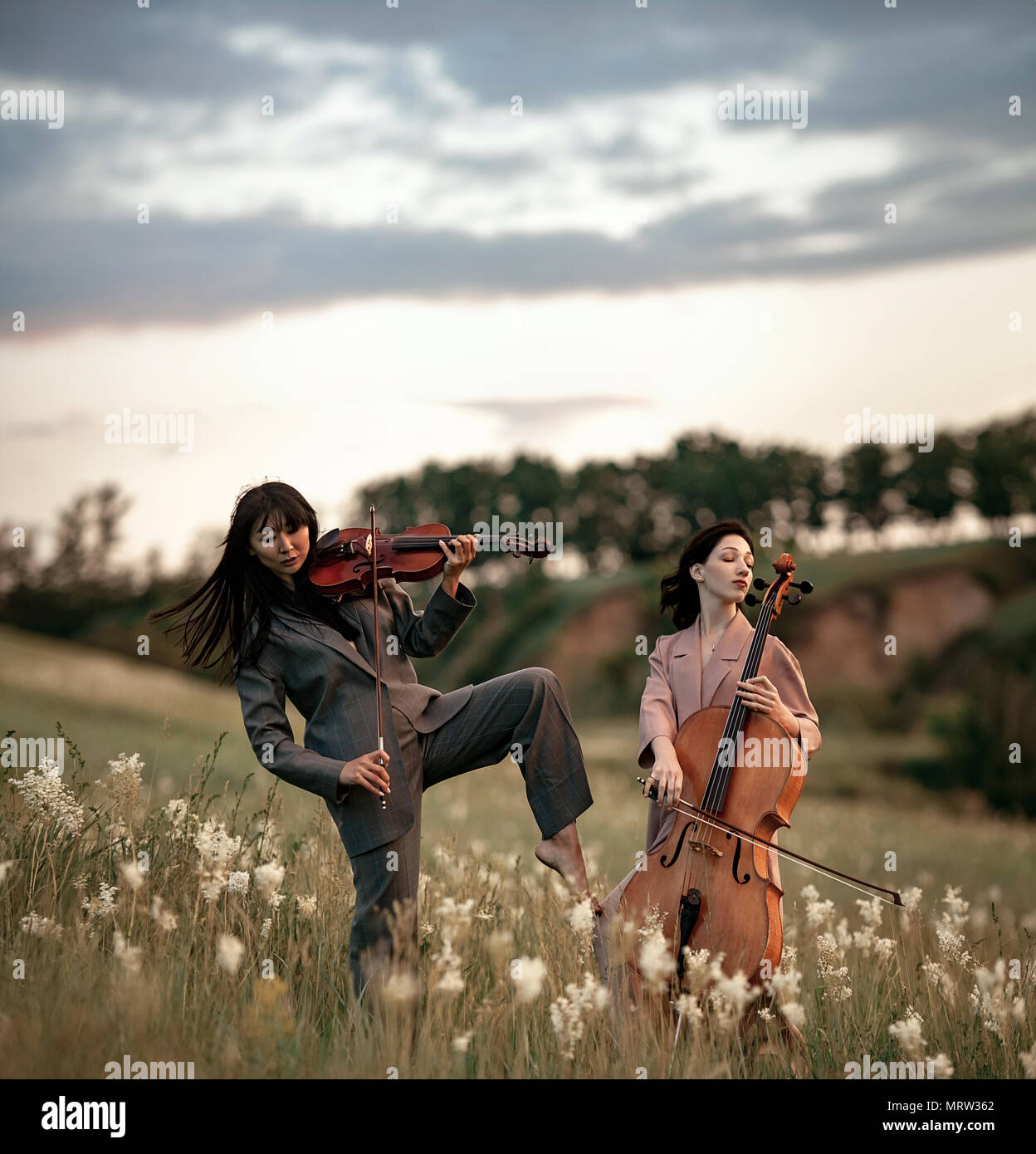 Female musical duet with violin and cello plays on flowering meadow against backdrop of picturesque landscape. - Stock Image