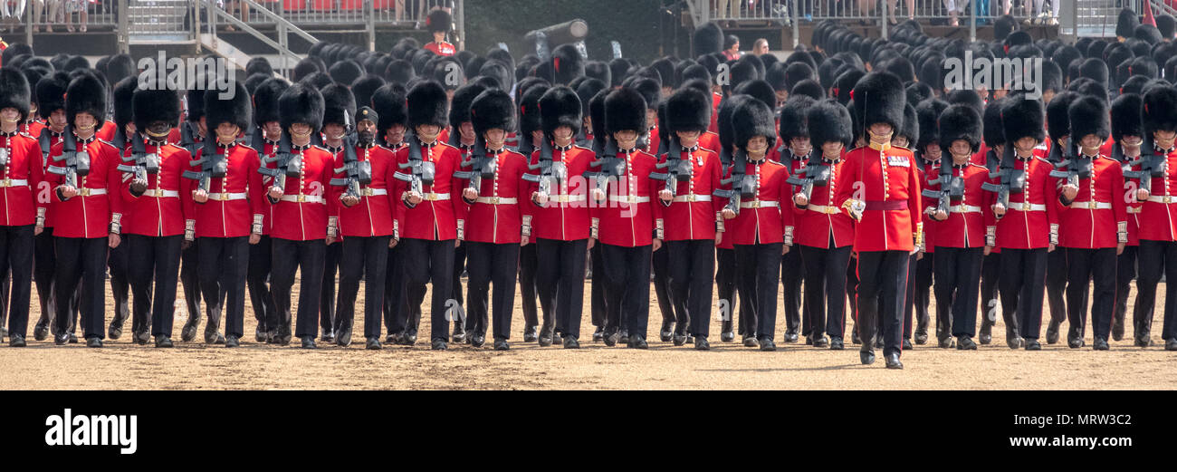 Panorama of Trooping the Colour military ceremony in London UK, with Queen's Guards lined up in traditional uniform and bearskin hats - Stock Image